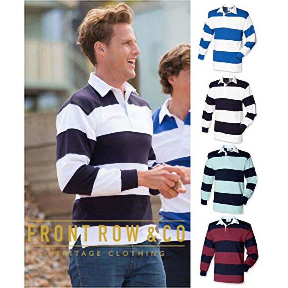 miniature 4 - Front Row - Polo de rugby rayé à manches longues 100% coton - Homme (RW476)