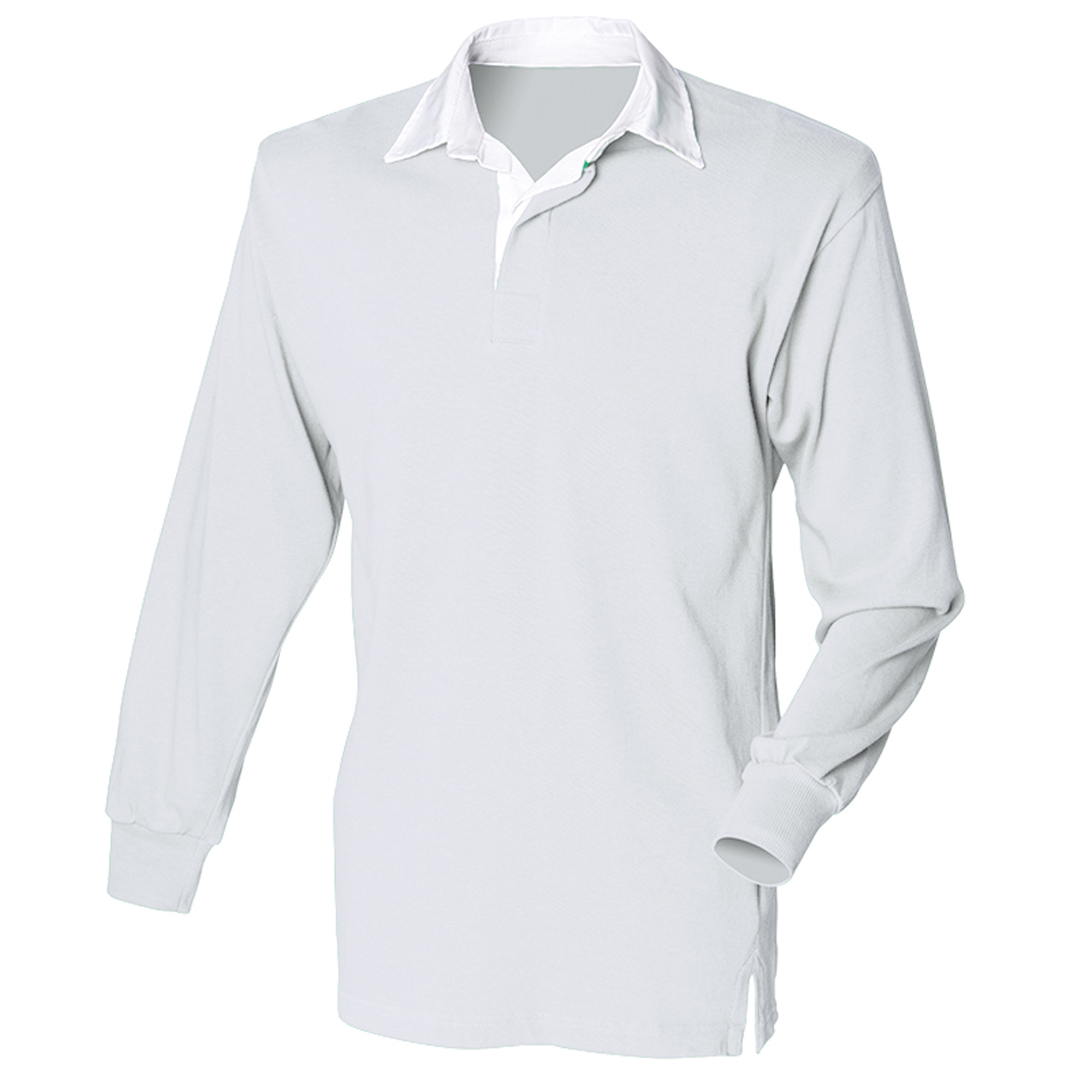 Front Row Long Sleeve Classic Rugby Polo Shirt (S) (Heather Grey/ White)