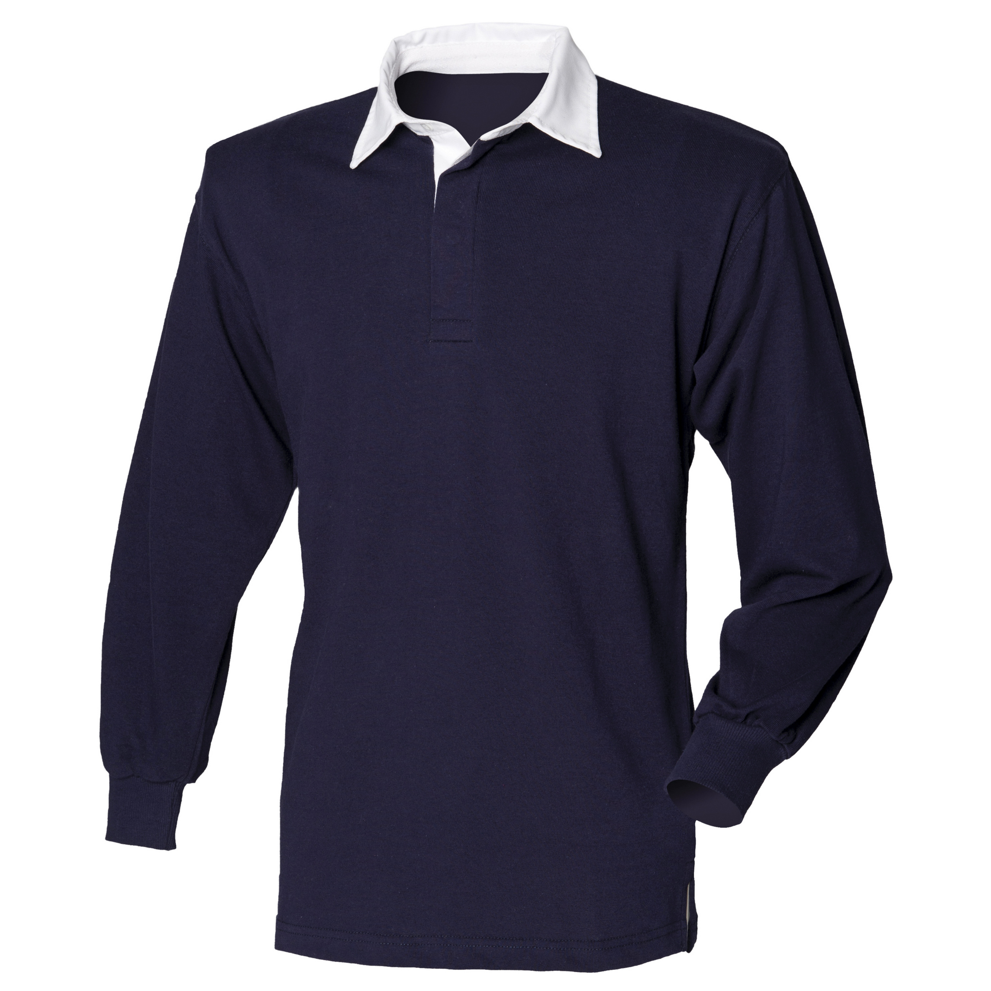 Front Row Long Sleeve Classic Rugby Polo Shirt (XS) (Navy/White)