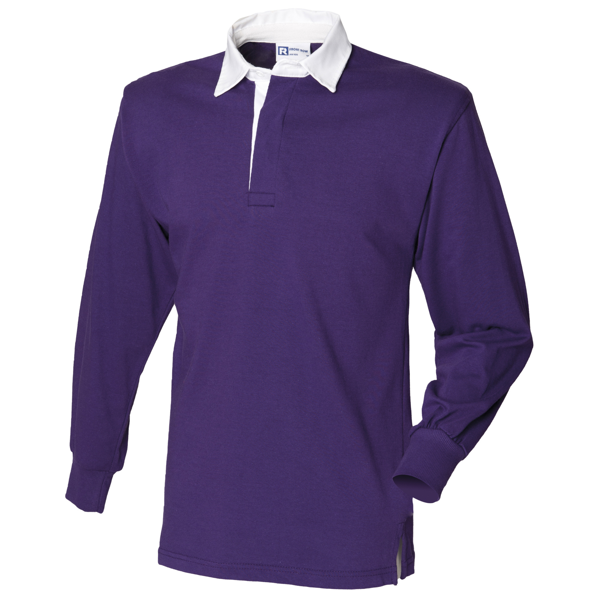 Front Row Long Sleeve Classic Rugby Polo Shirt (3XL) (Deep Purple/White)