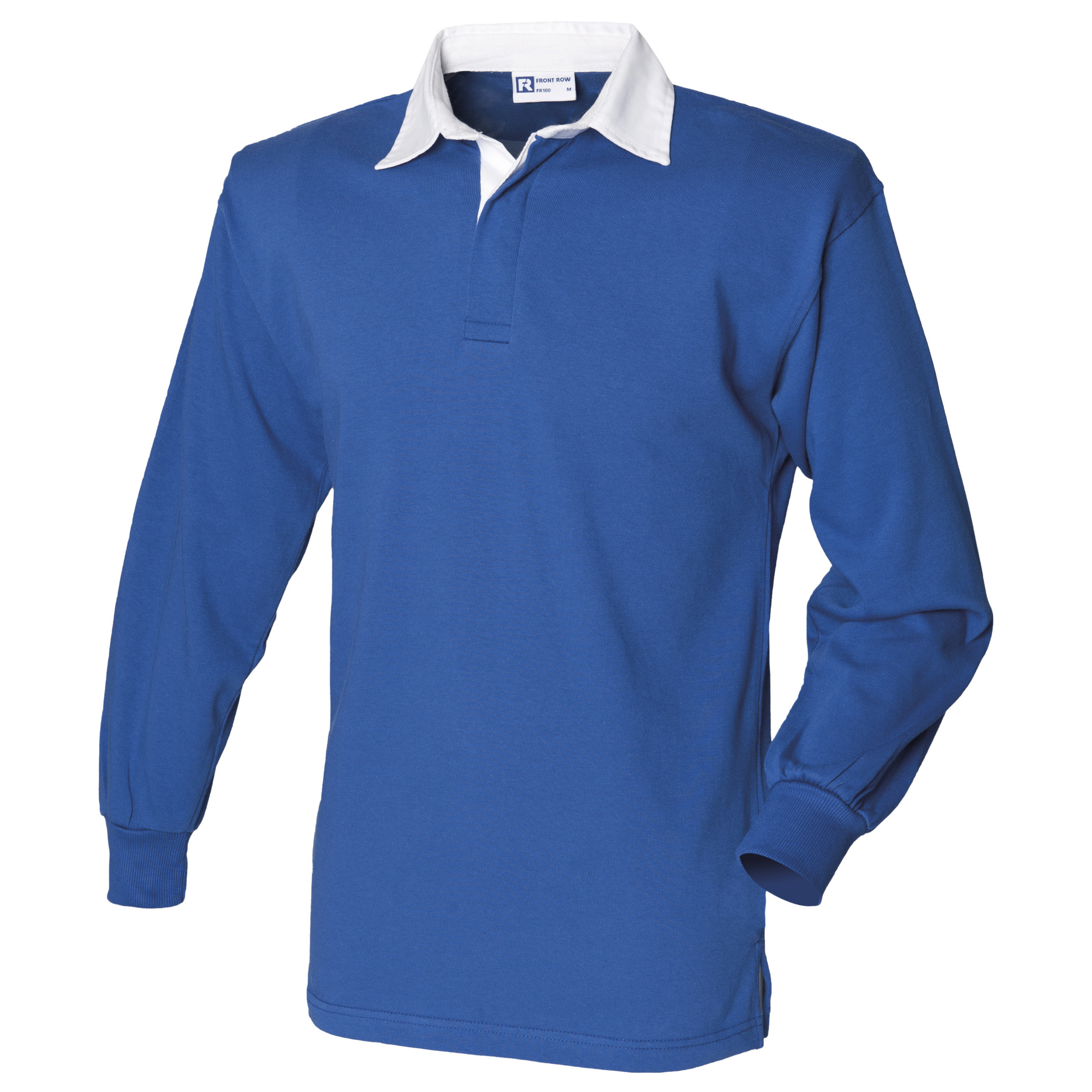 Front Row Long Sleeve Classic Rugby Polo Shirt (XL) (Royal/White)