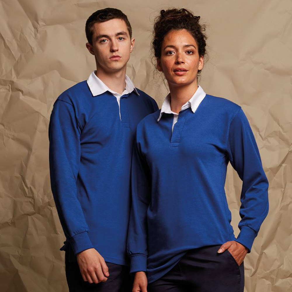 Front-Row-Long-Sleeve-Classic-Rugby-Sports-Cotton-Plain-Polo-Shirt-RW478 thumbnail 11