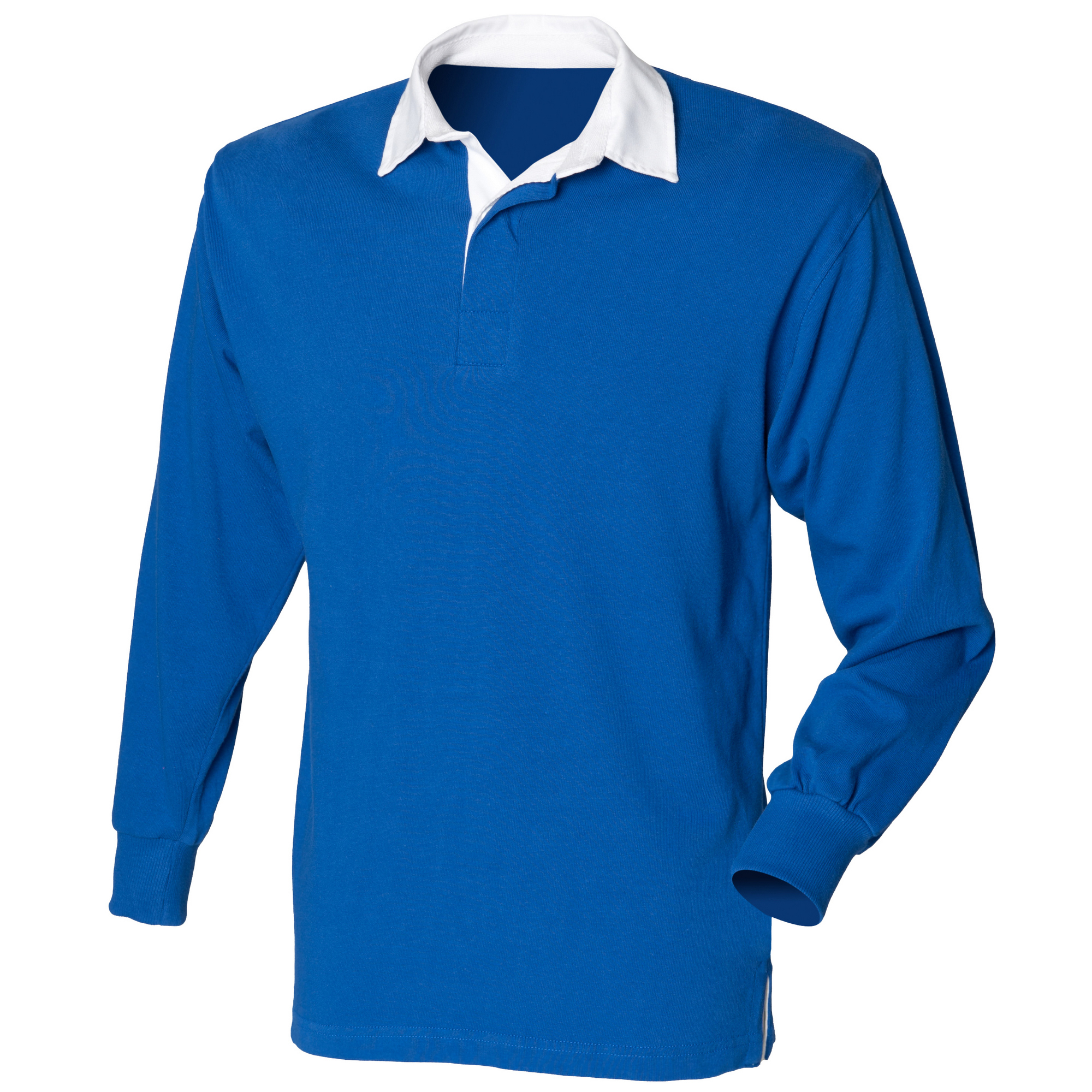 Front Row Kids Unisex Long Sleeve Plain Rugby Sports Polo Shirt (M) (Royal)