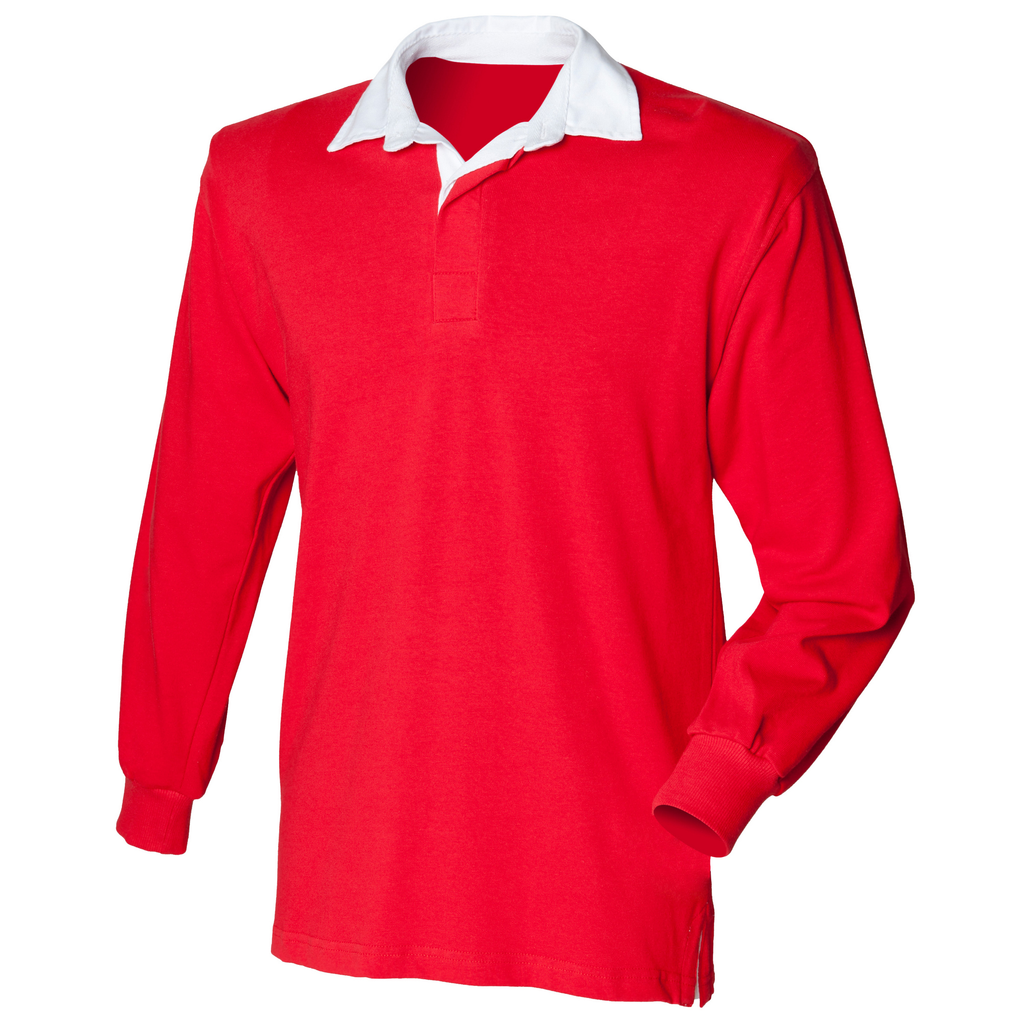 Front Row Kids Unisex Long Sleeve Plain Rugby Sports Polo Shirt (XL) (Red)