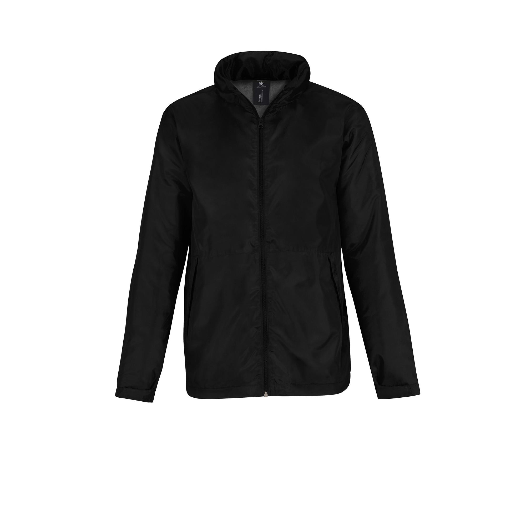 B&C Mens Multi Active Hooded Fleece Lined Jacket (S) (Black/ Warm Grey)