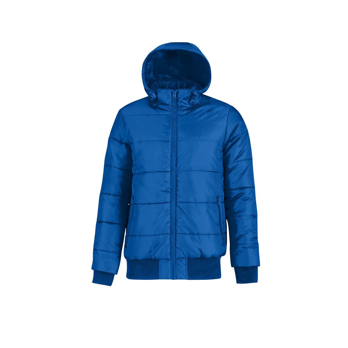 B&C Mens Superhood Padded Bomber Jacket (XL) (Royal Blue/ Neon Orange)