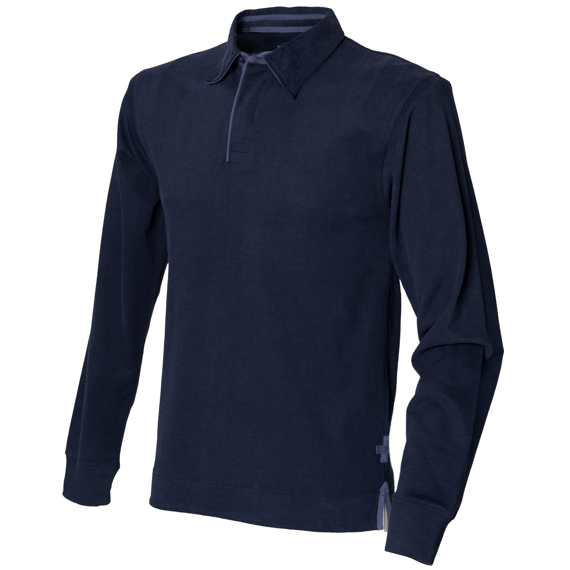 Front Row Mens Super Soft Long Sleeve Rugby Polo Shirt (L) (Navy)