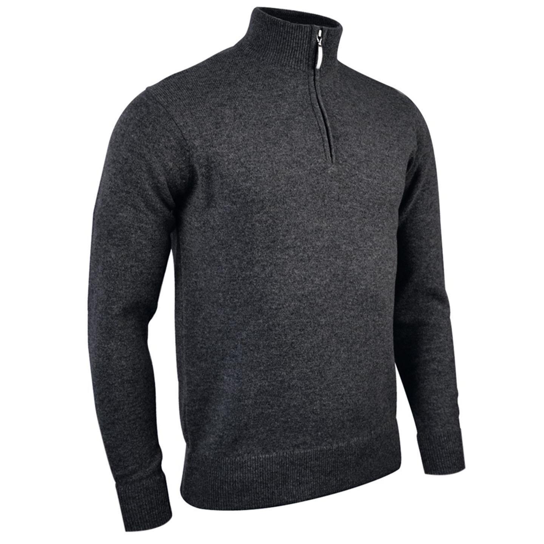 Glenmuir Oban - Lambswool 1/4 Zip Sweater / Sweatshirt (L) (Black)