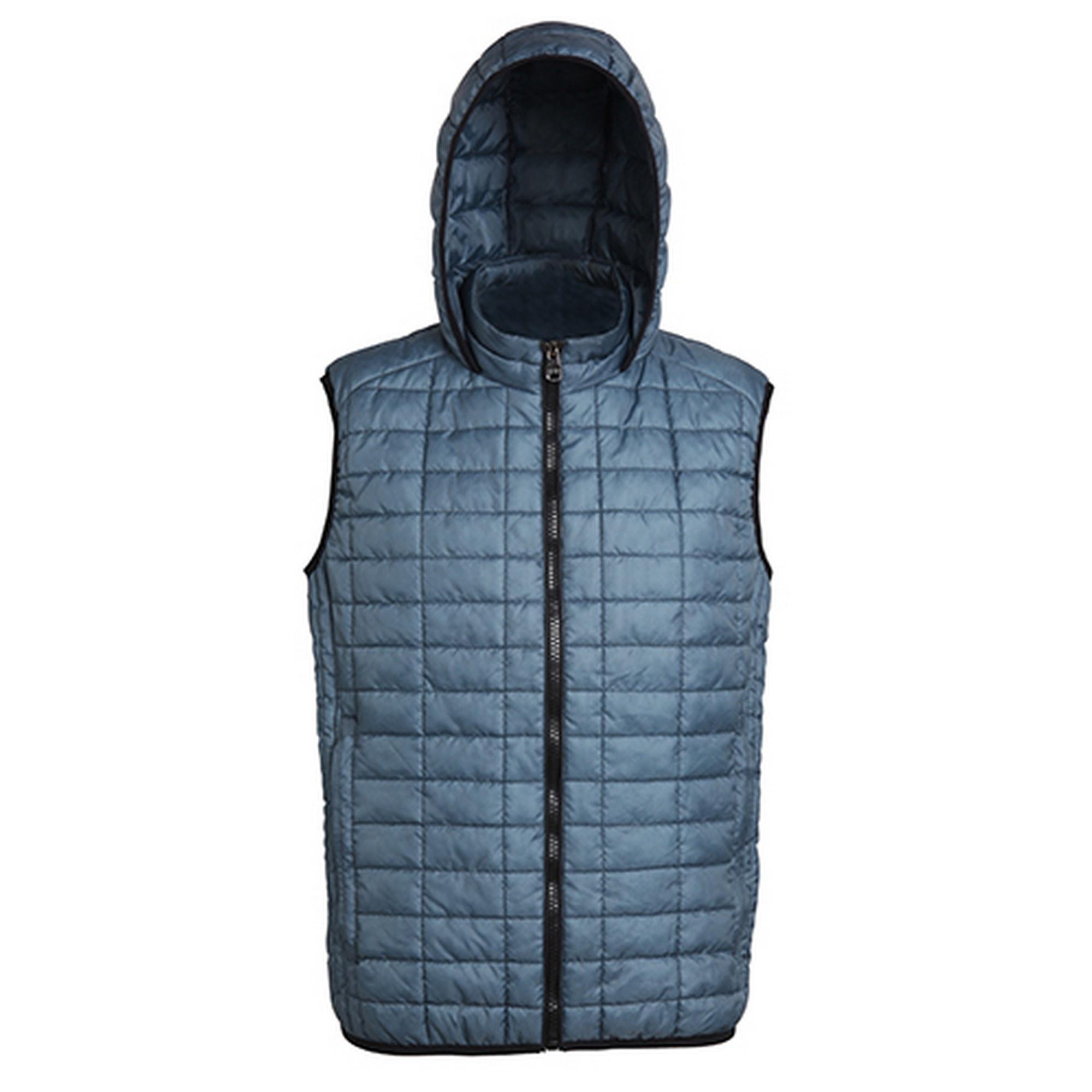 2786 Mens Honeycomb Zip Up Hooded Gilet/Bodywarmer (XL) (Steel)