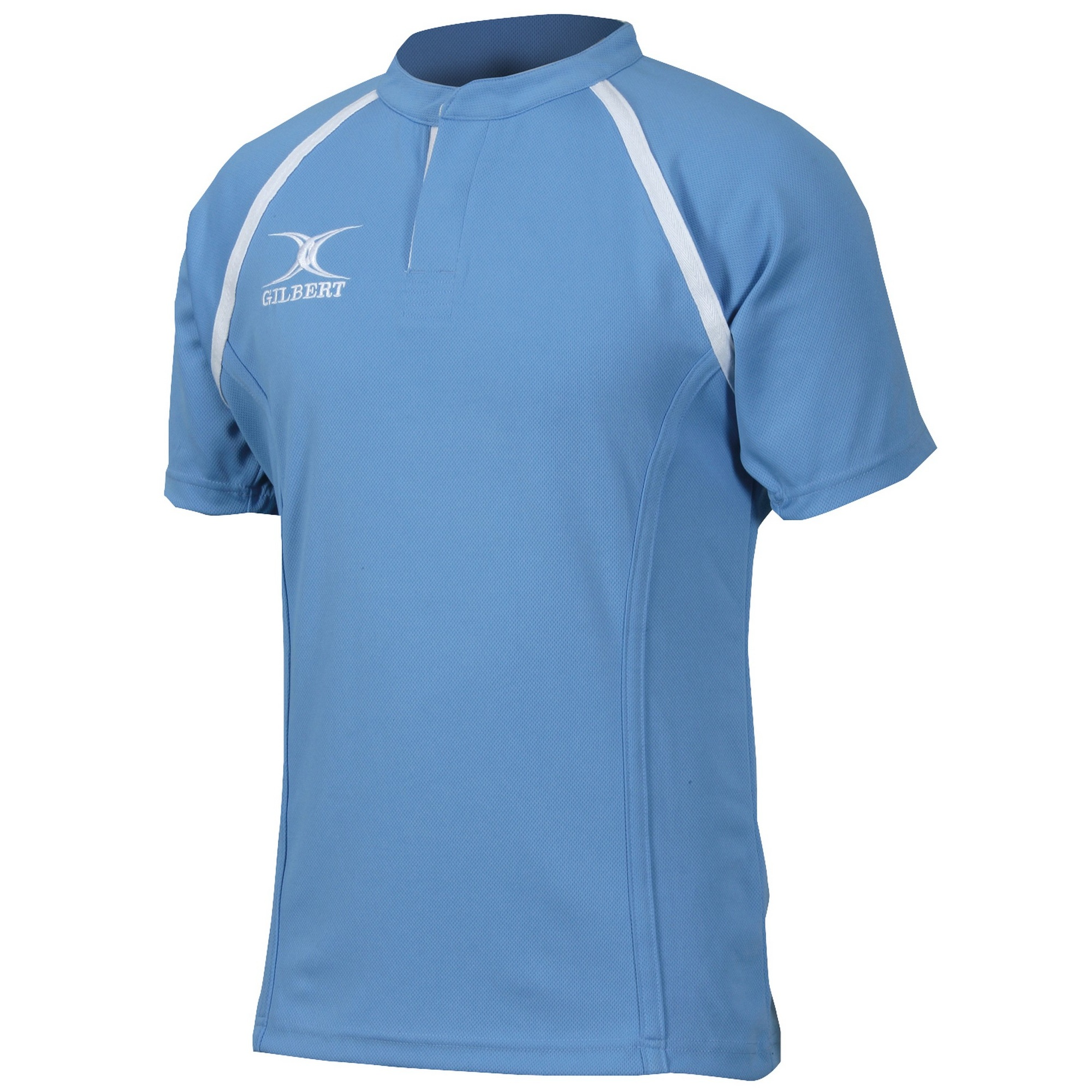 Gilbert Rugby Mens Xact Game Day Short Sleeved Rugby Shirt (XL) (Sky)