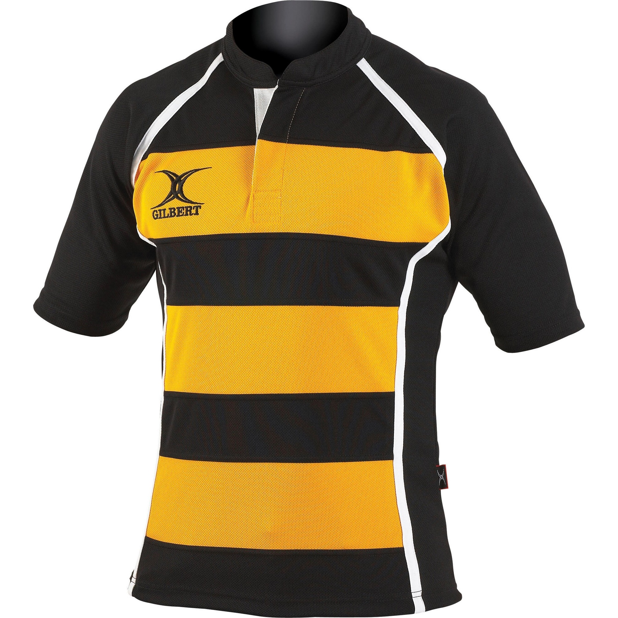 Gilbert Rugby Childrens/Kids Xact Match Short Sleeved Rugby Shirt (11-12 Years) (Black/ Amber Hoops)