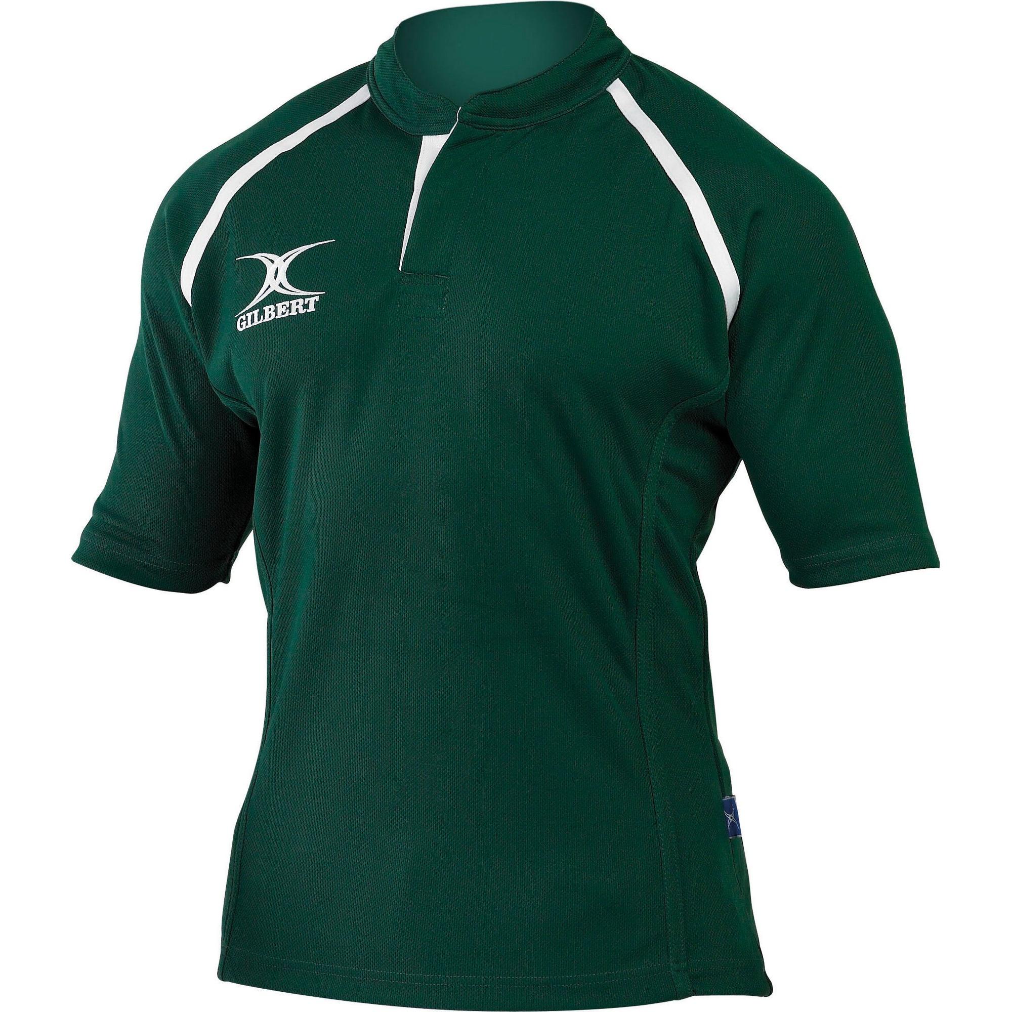 Gilbert Rugby Childrens/Kids Xact Match Short Sleeved Rugby Shirt (5-6 Years) (Green)