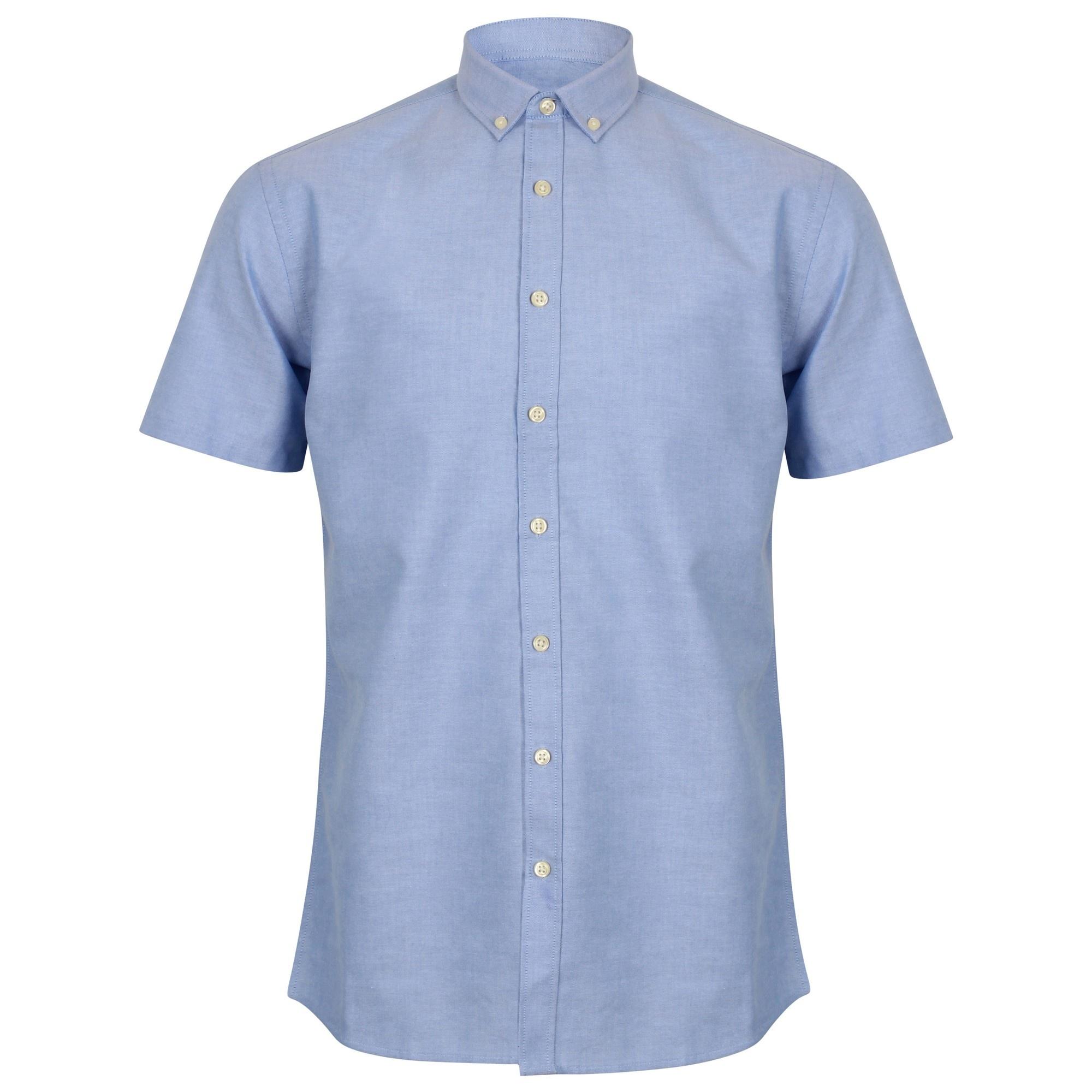 Henbury Mens Modern Short Sleeve Oxford Shirt (LS) (Blue)