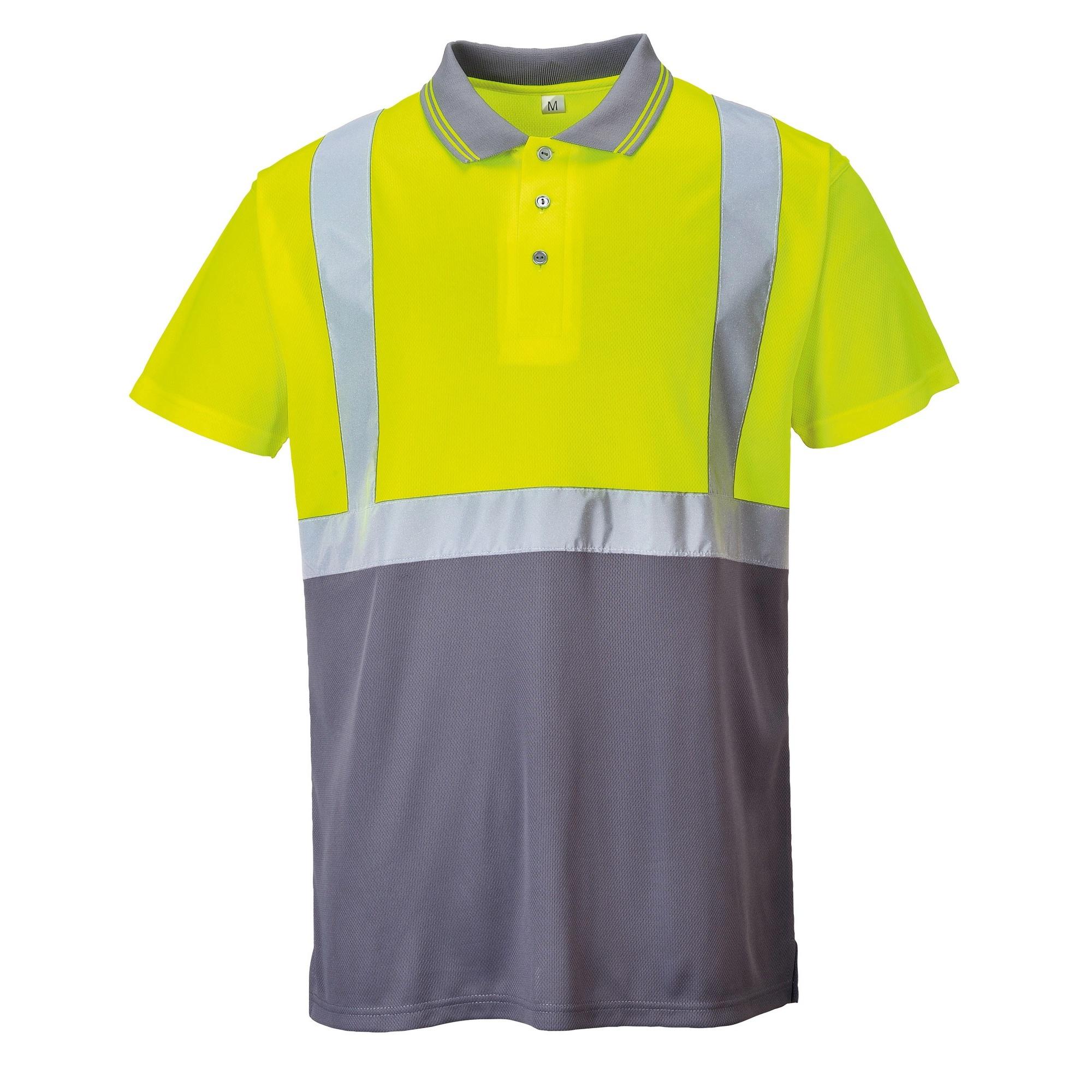 Portwest Mens Short Sleeve Two-Tone Hi-Vis Polo Shirt (M) (Yellow/ Grey)