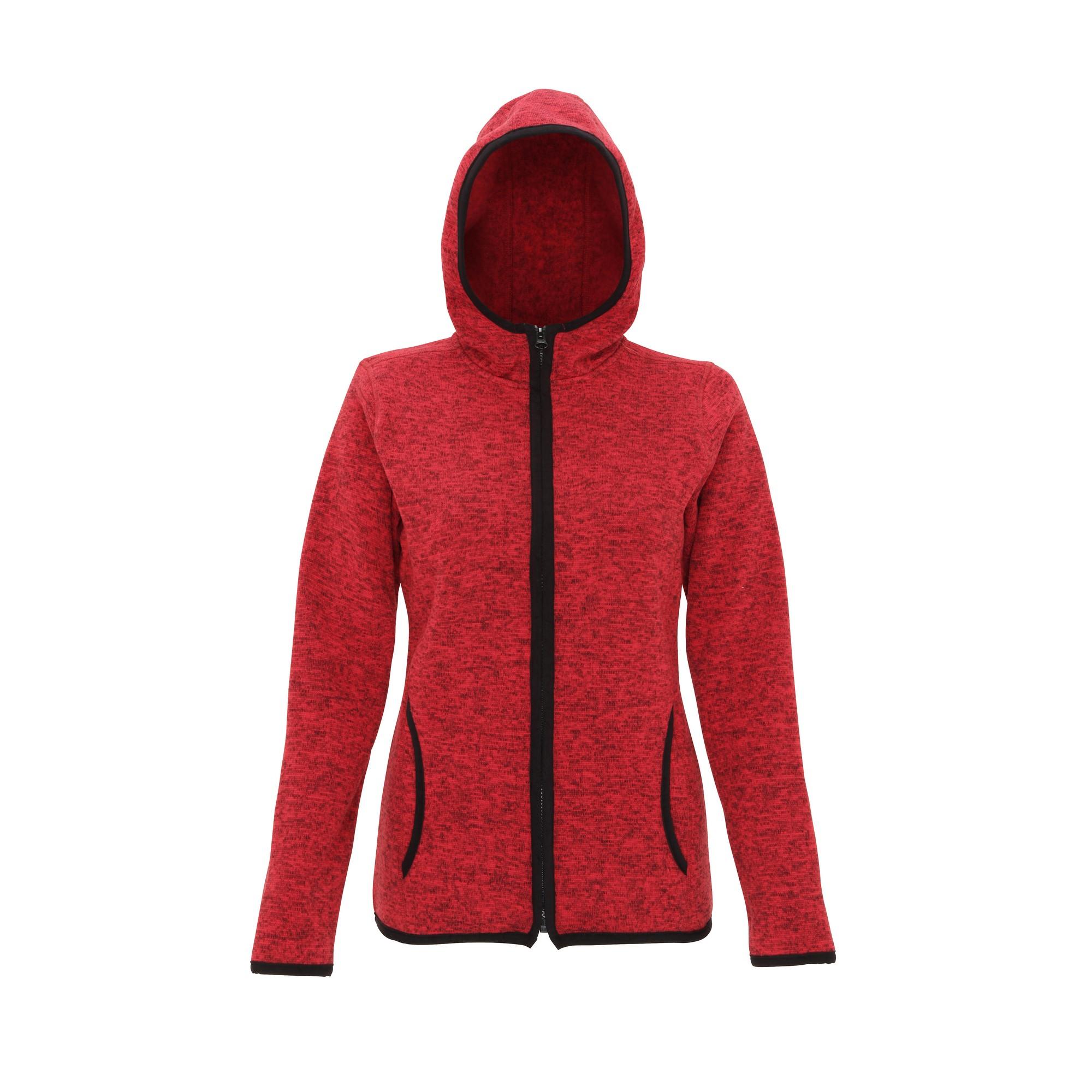 Tri Dri Womens/Ladies Melange Knit Fleece Jacket (XL) (Fire Red/Black Fleck)