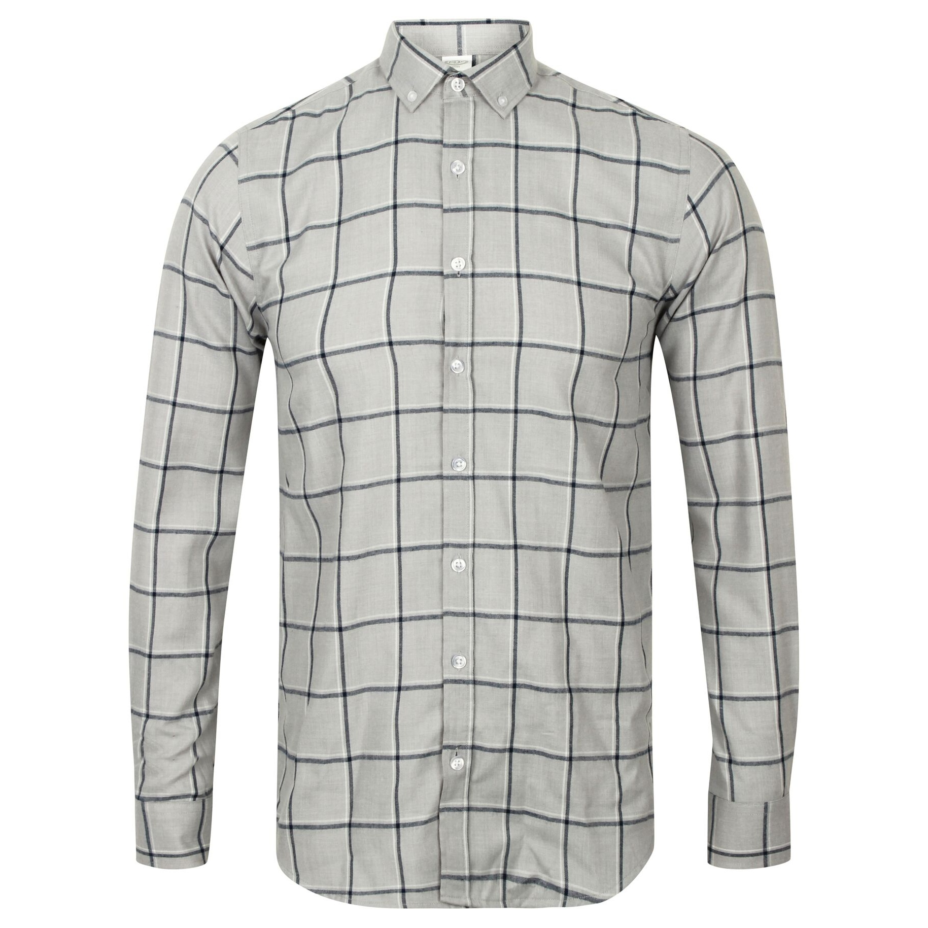 Skinni Fit Mens Brushed Check Casual Long Sleeve Shirt (L) (Light Grey Check)