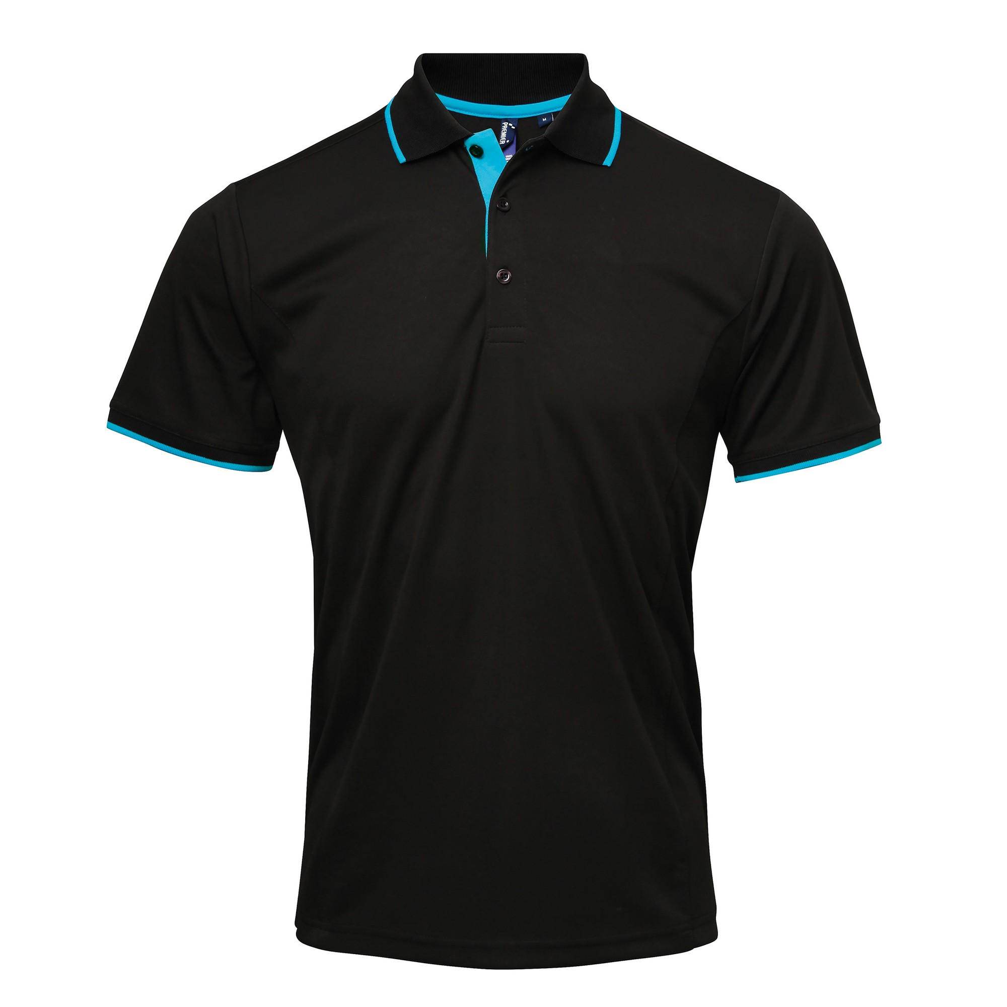 Premier Mens Contrast Coolchecker Polo Shirt (2XL) (Black/Lime)