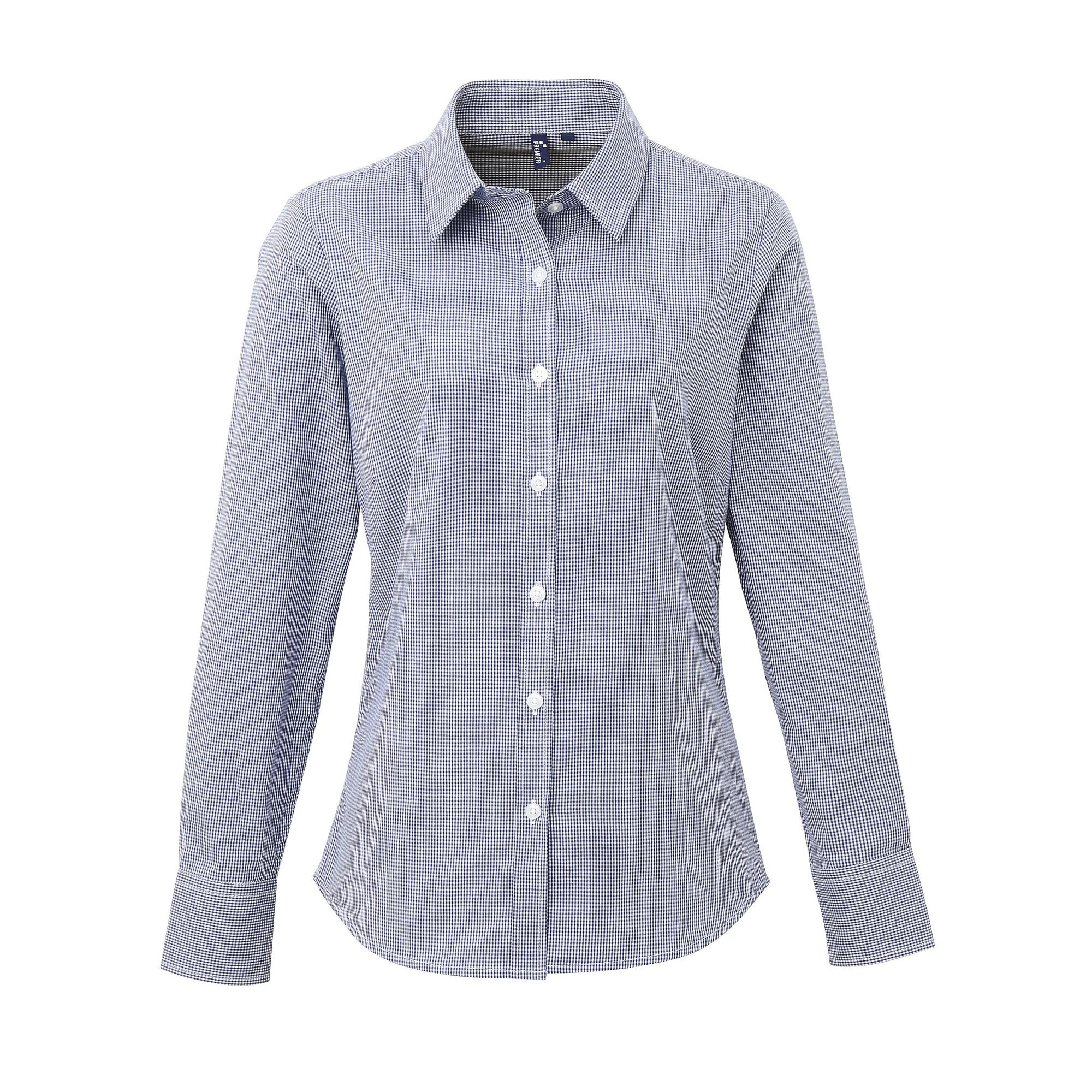 Premier Womens/Ladies Microcheck Long Sleeve Shirt (L) (Navy/White)