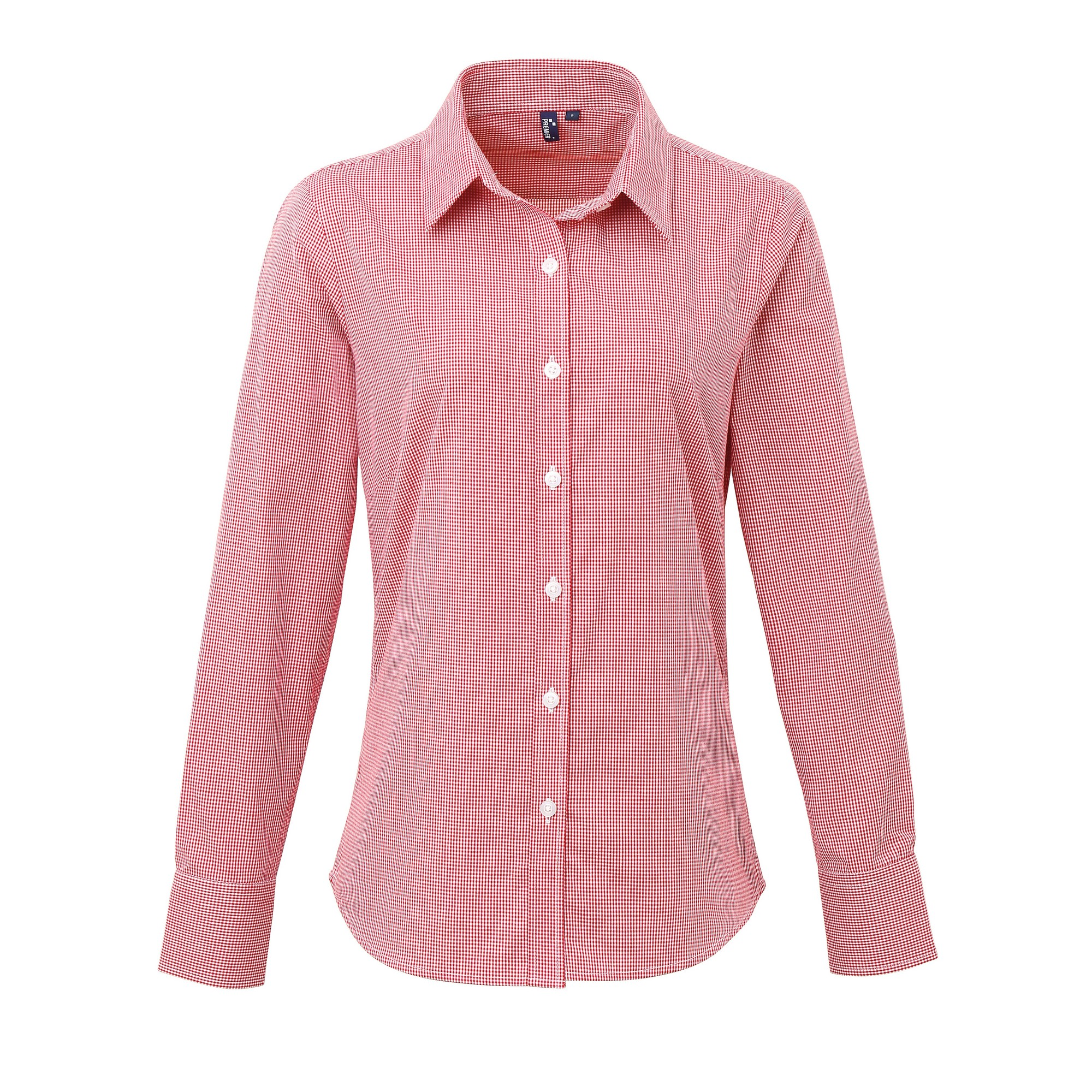 Premier Womens/Ladies Microcheck Long Sleeve Shirt (XL) (Red/White)