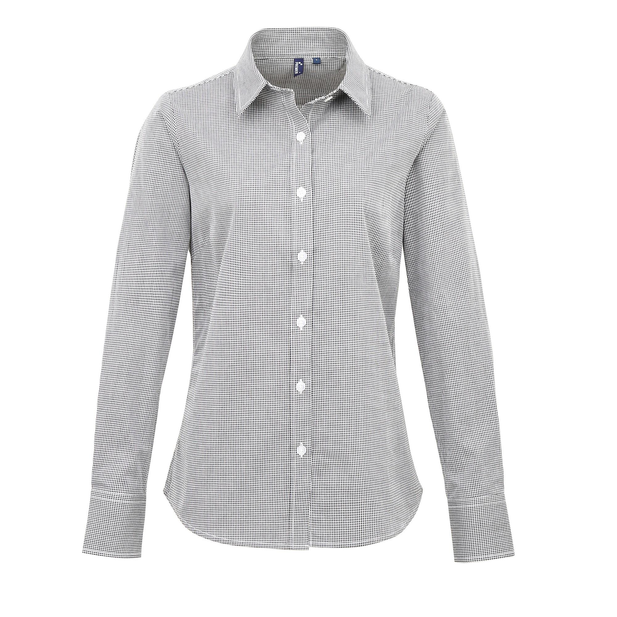 Premier Womens/Ladies Microcheck Long Sleeve Shirt (2XL) (Black/White)