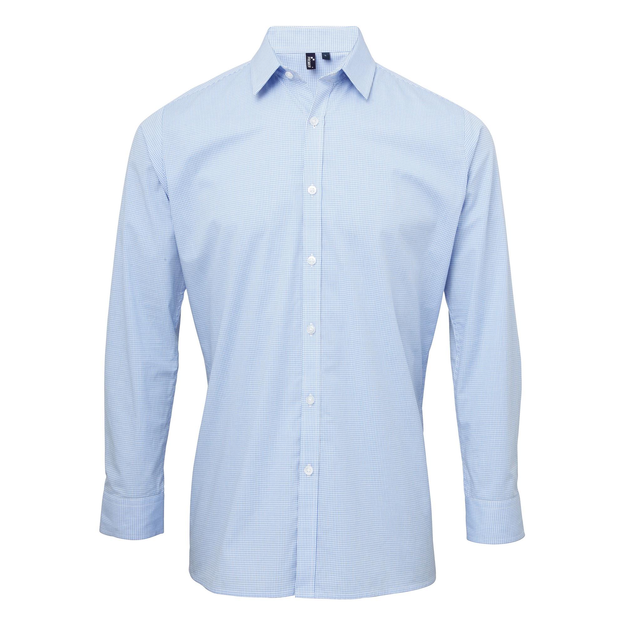 Premier Mens Microcheck Long Sleeve Shirt (XL) (Light Blue/White)