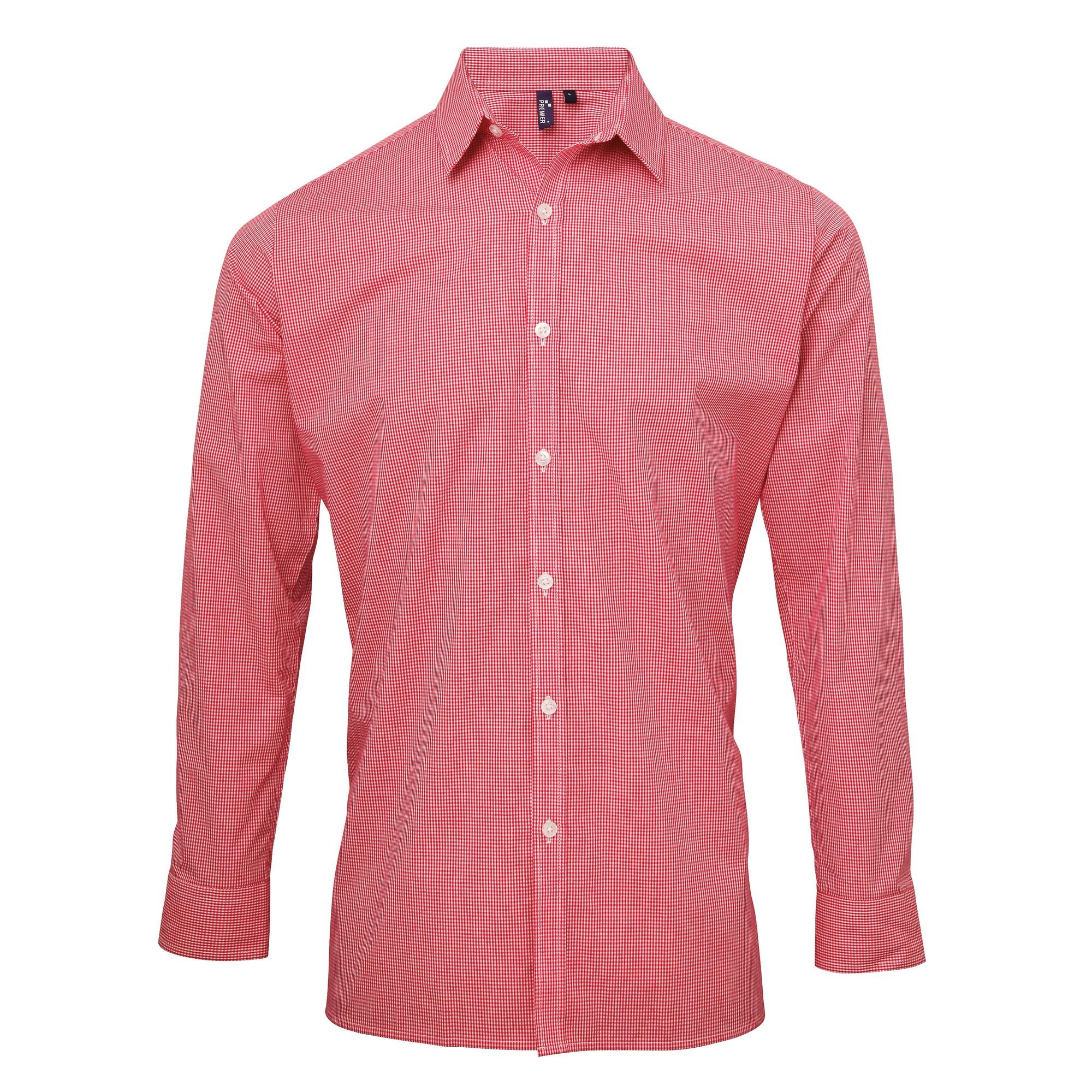 Premier Mens Microcheck Long Sleeve Shirt (M) (Red/White)