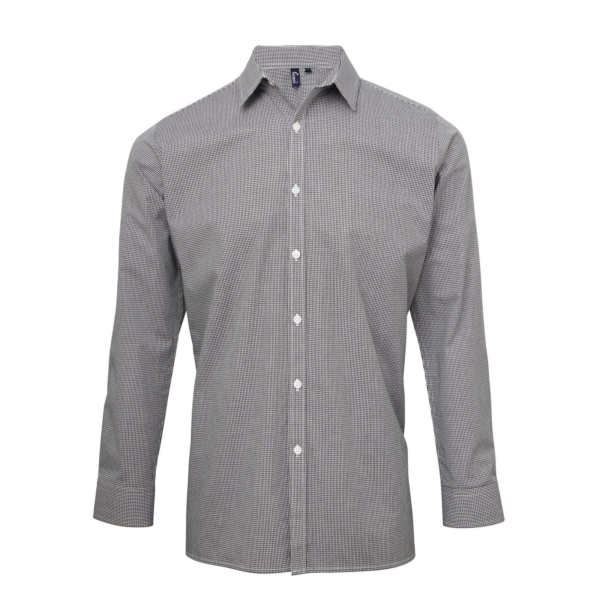 Premier Mens Microcheck Long Sleeve Shirt (L) (Black/White)