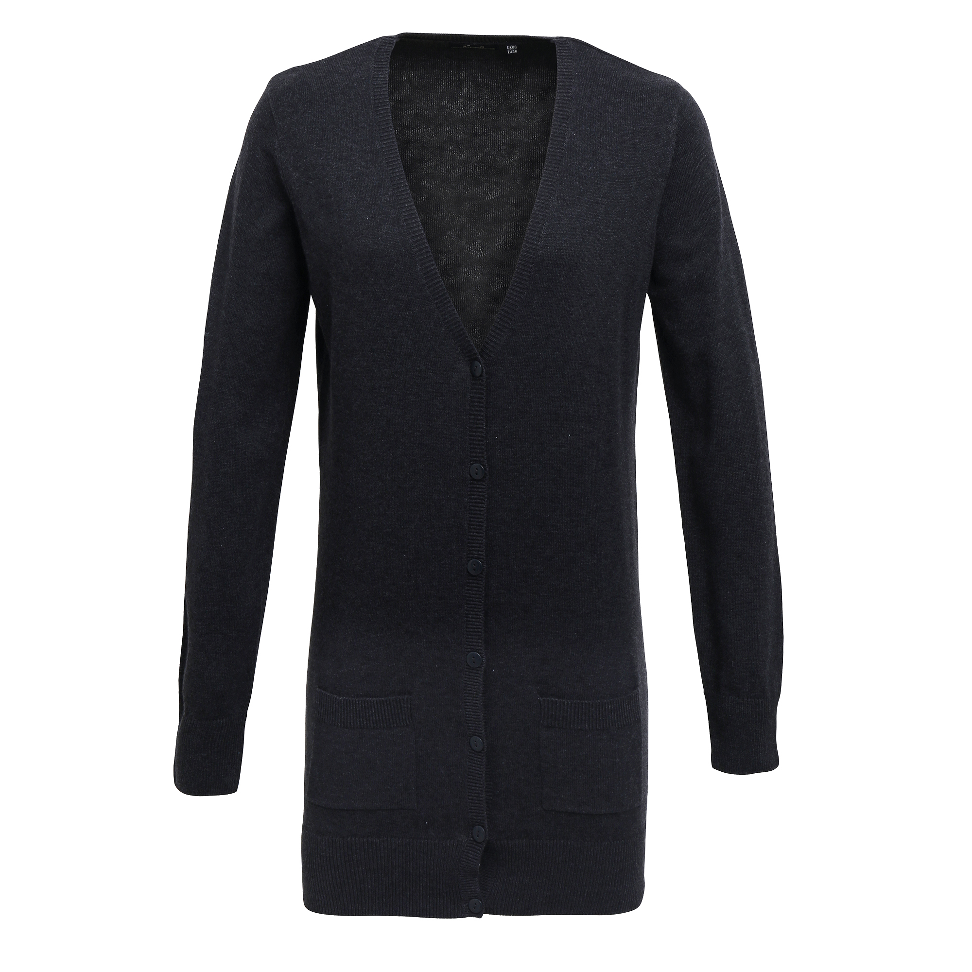 Premier Womens/Ladies Longline V Neck Knitted Cardigan (10) (Charcoal)