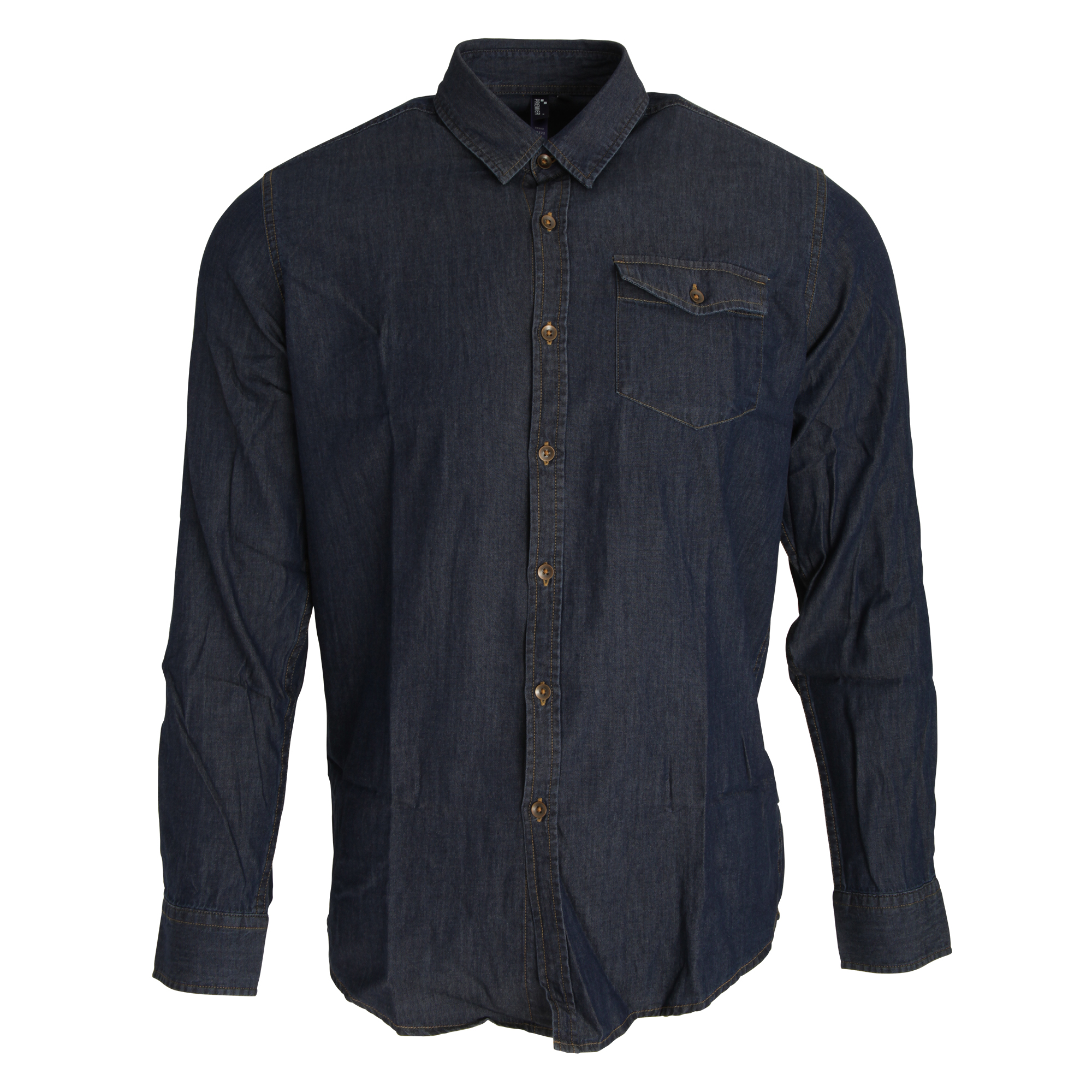 Premier Mens Jeans Stitch Long Sleeve Denim Shirt (XS) (Indigo Denim)
