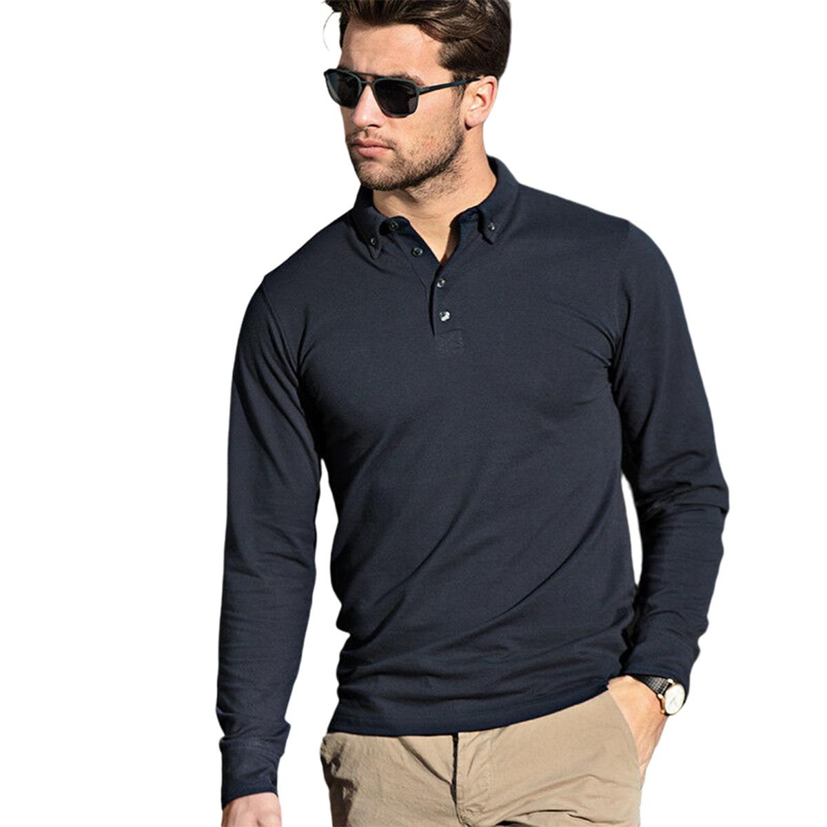 Nimbus Mens Carlington Deluxe Long Sleeve Polo Shirt (4XL) (Navy)