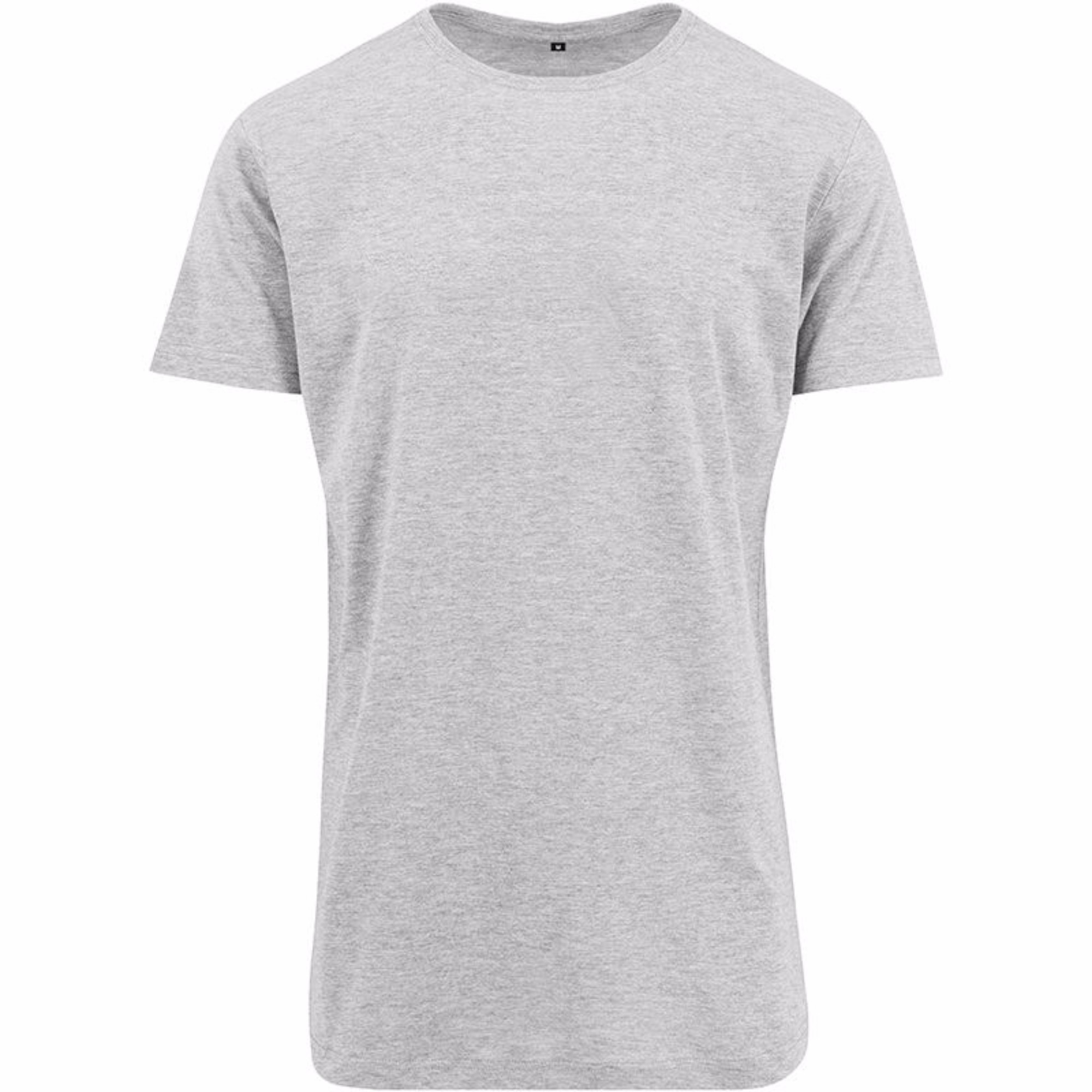 Build Your Brand Mens Shaped Long Short Sleeve T-Shirt (XS) (Heather Grey)