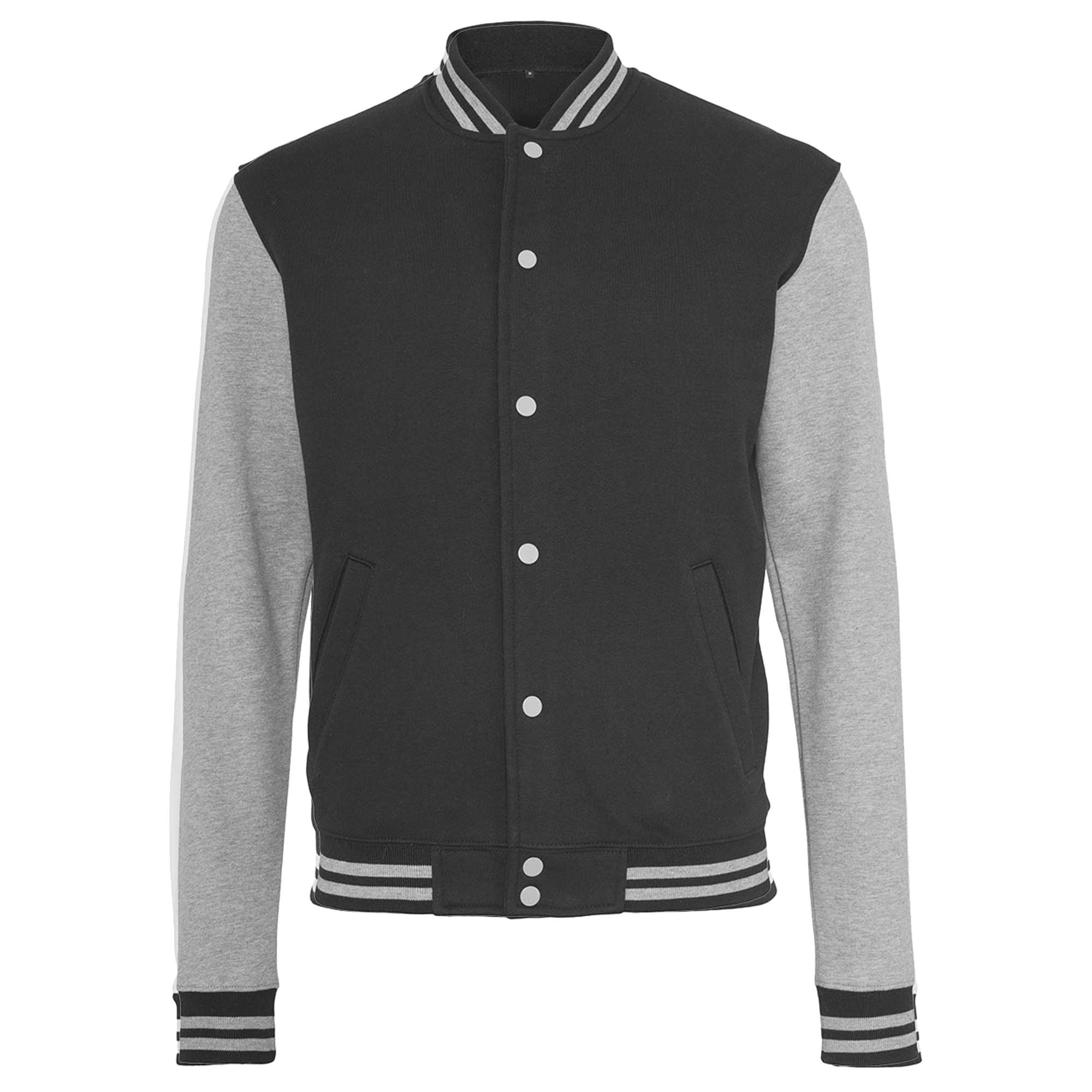Build Your Brand Womens/Ladies Sweat College Jacket (XL) (Black/Heather Grey)
