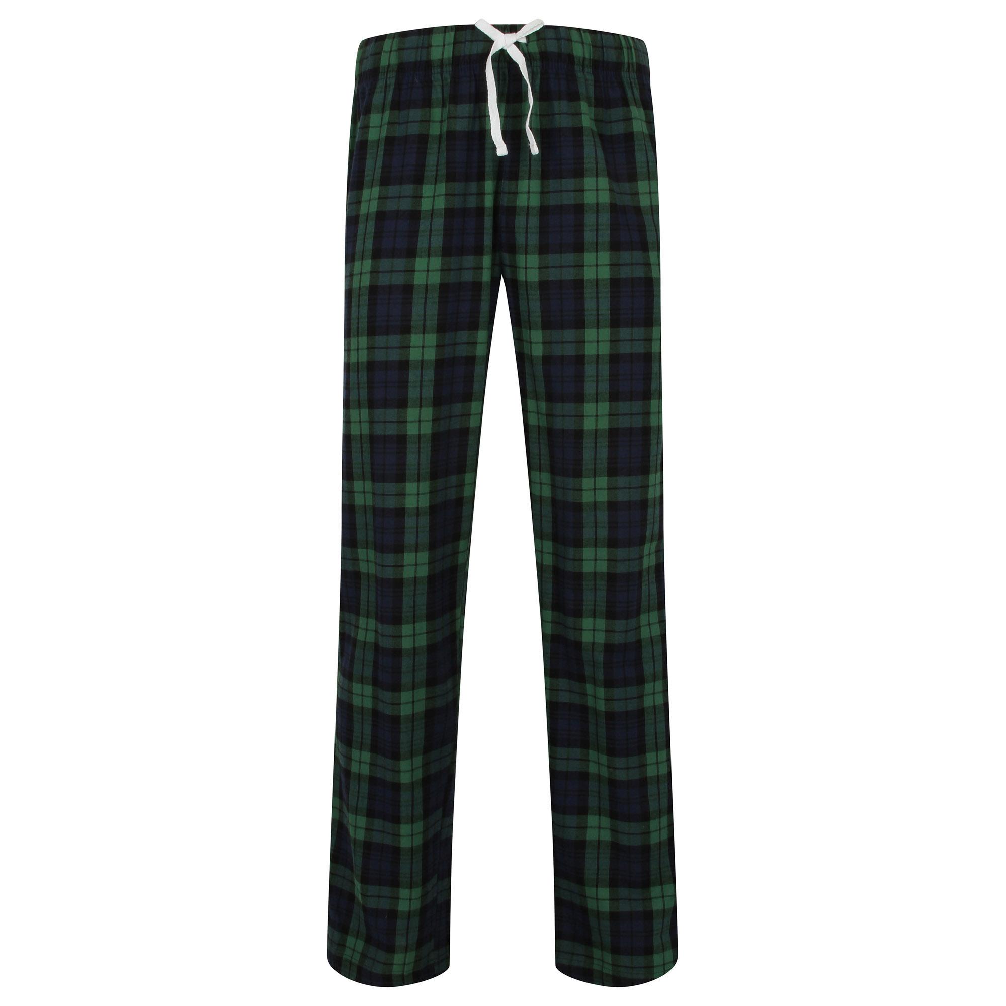Skinnifit Mens Tartan Lounge Pants (S) (Navy/Green Check)