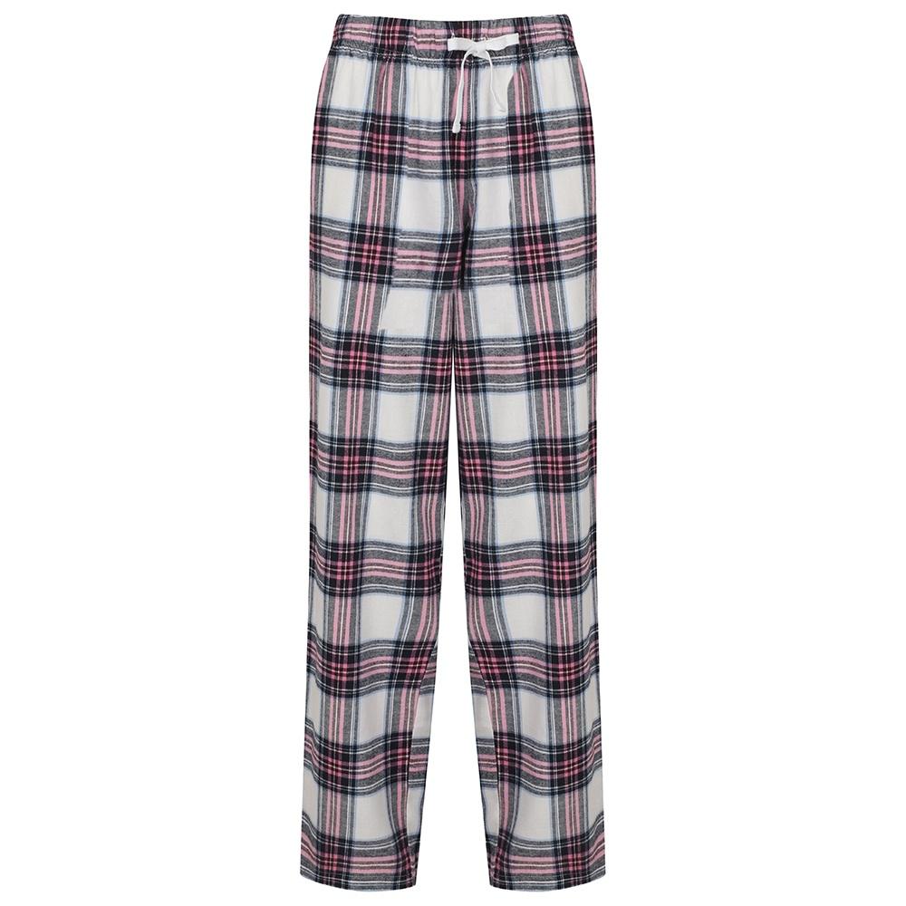 Skinnifit Womens/Ladies Tartan Lounge Pants (XL) (White/Pink Check)