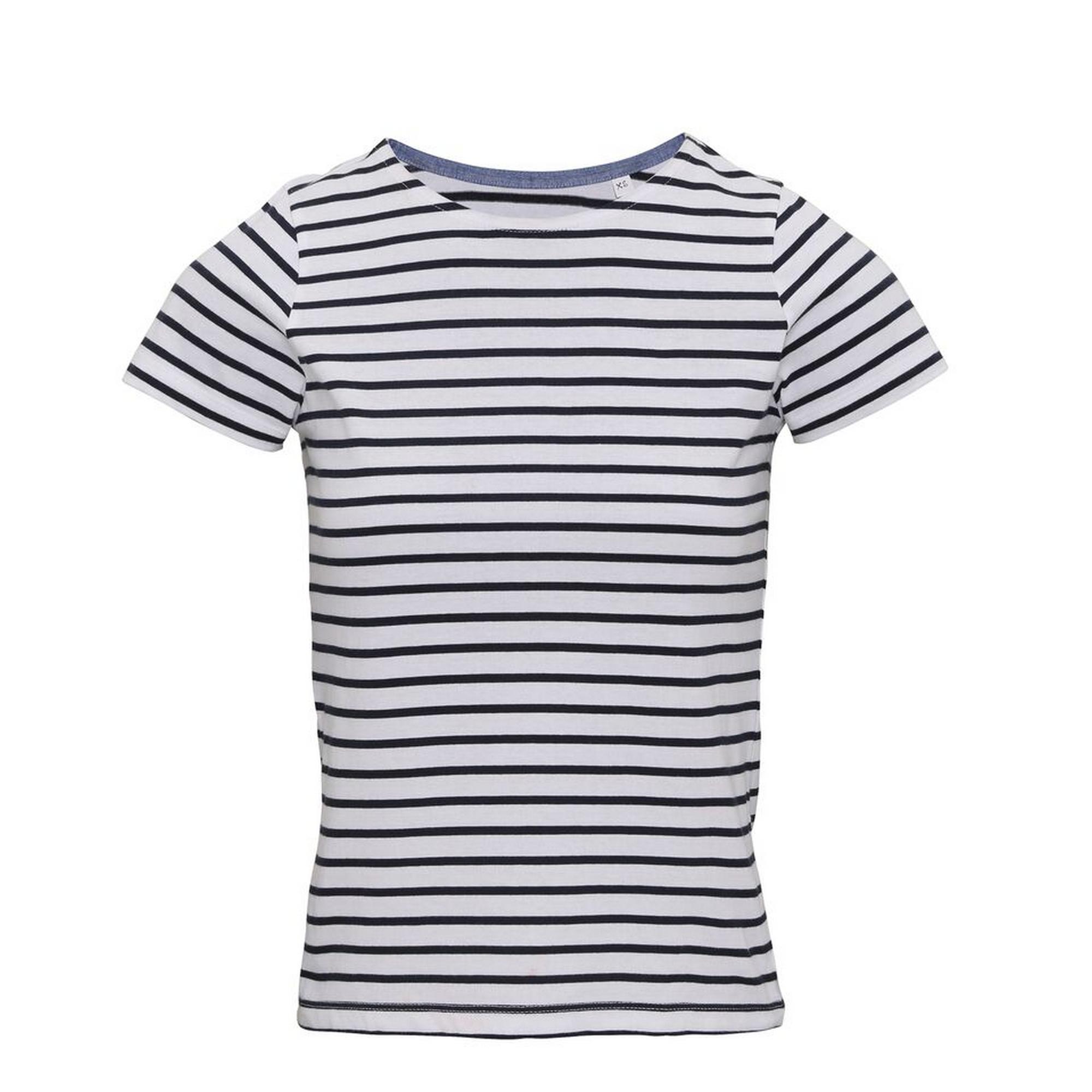 Asquith & Fox Womens/Ladies Mariniere Coastal Short Sleeve T-Shirt (M) (White/Navy)