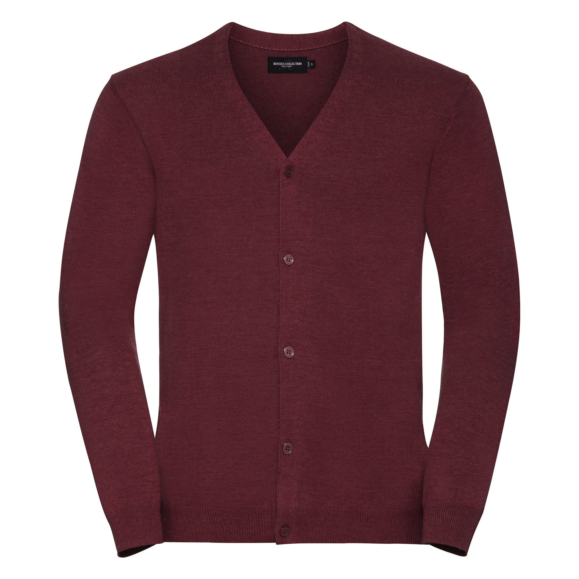 Russell Collection Mens V-neck Knitted Cardigan (3XL) (Cranberry Marl)