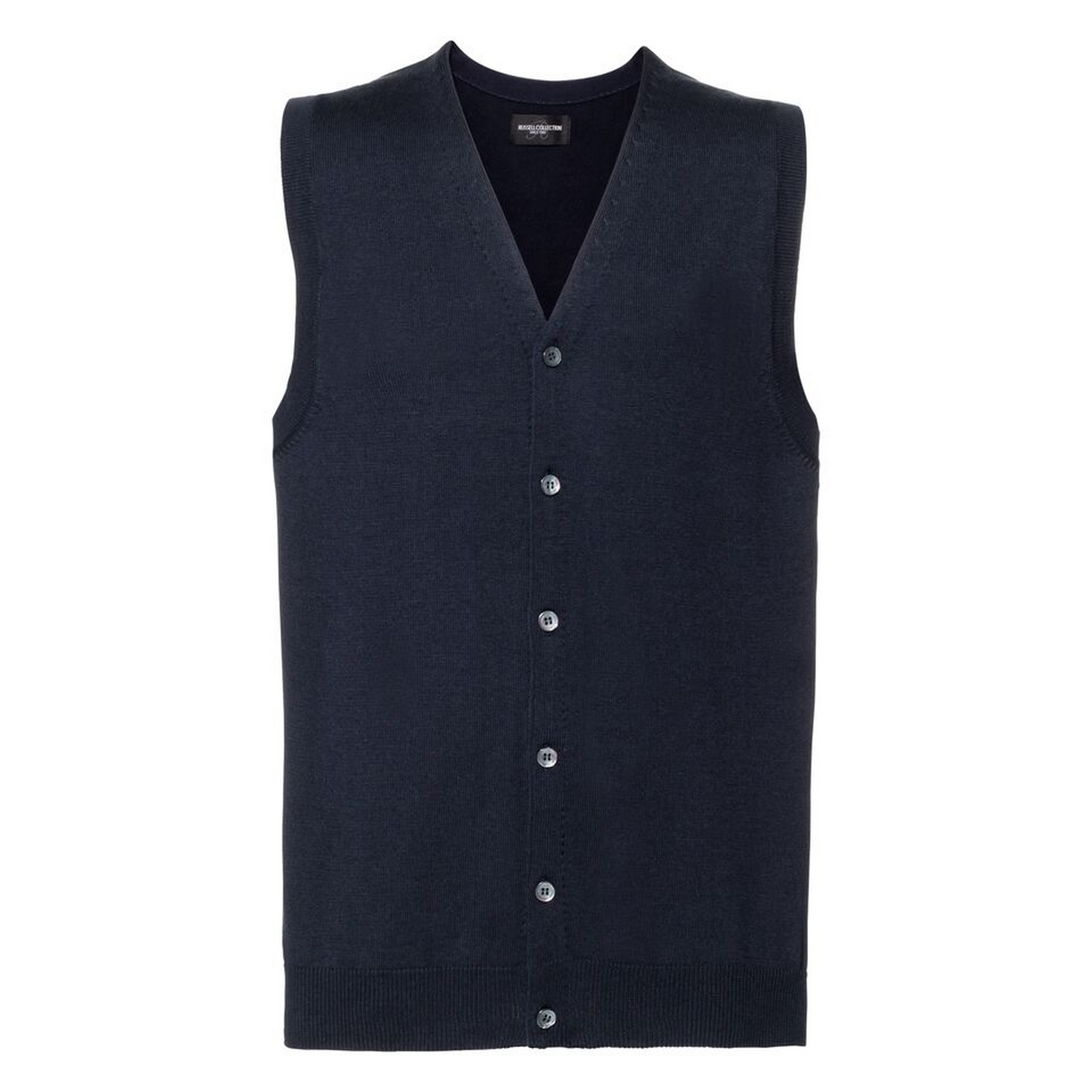 Russell Collection Mens V-neck Sleeveless Knitted Cardigan (L) (French Navy)