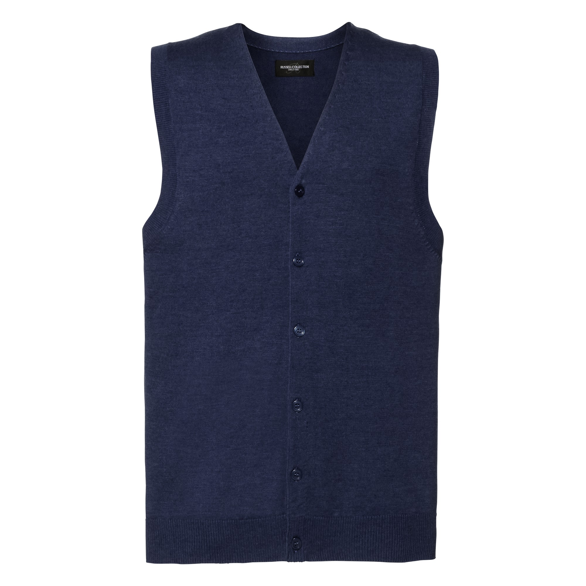 Russell Collection Mens V-neck Sleeveless Knitted Cardigan (S) (Denim Marl)