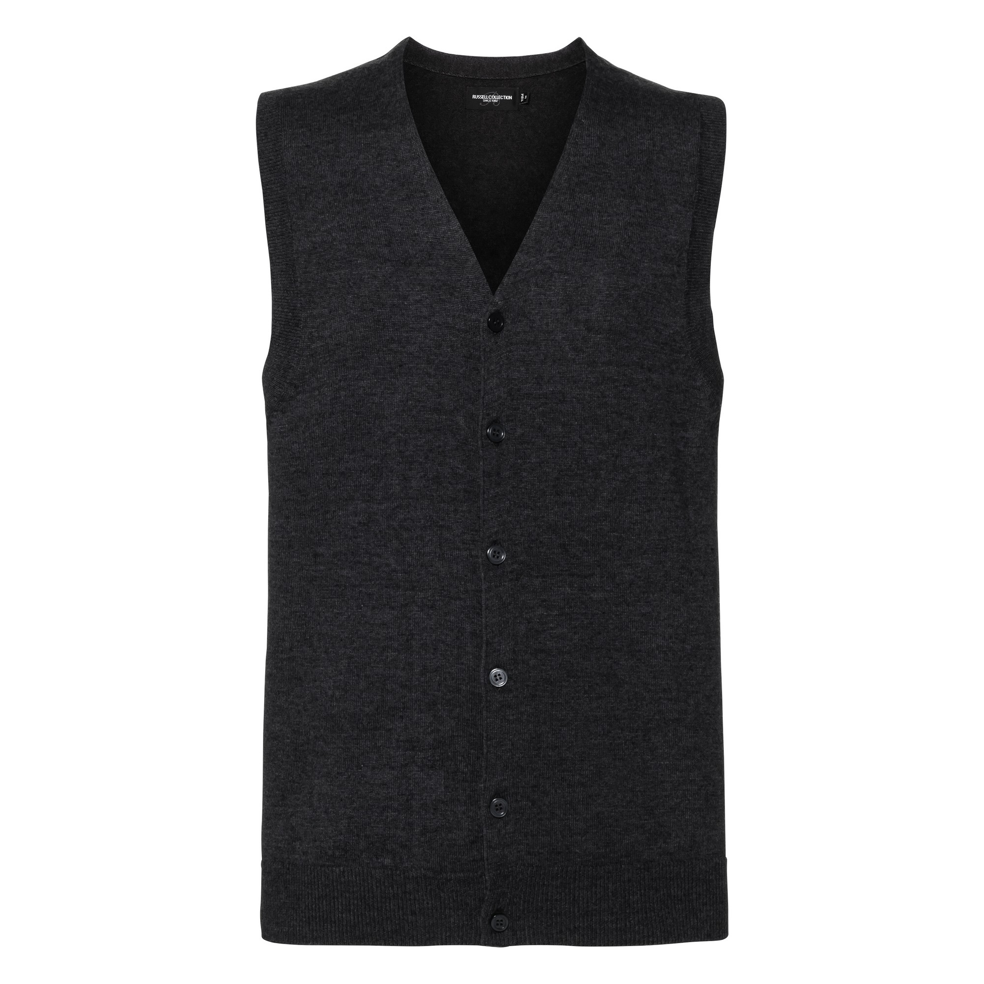 Russell Collection Mens V-neck Sleeveless Knitted Cardigan (2XS) (Charcoal Marl)
