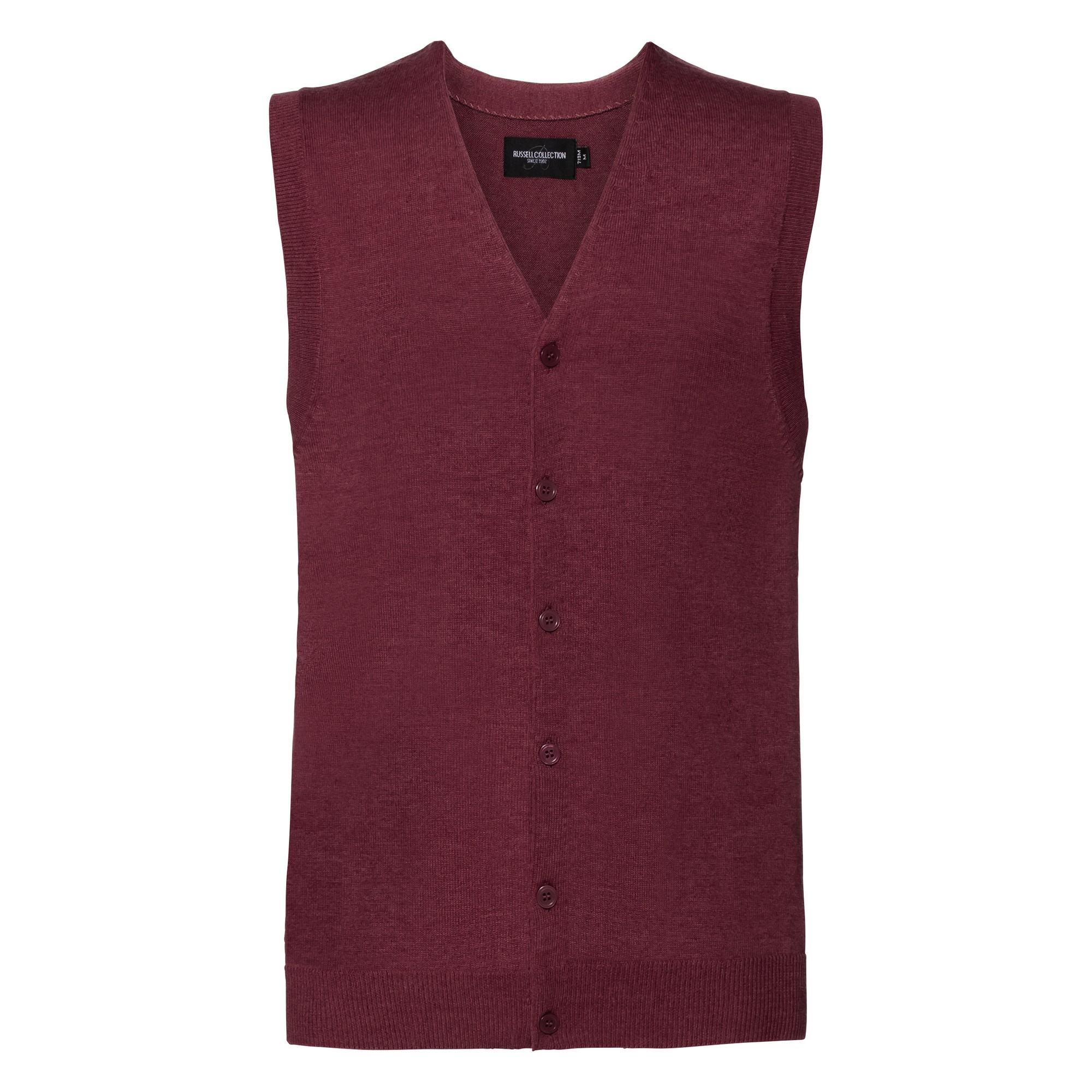 Russell Collection Mens V-neck Sleeveless Knitted Cardigan (S) (Cranberry Marl)