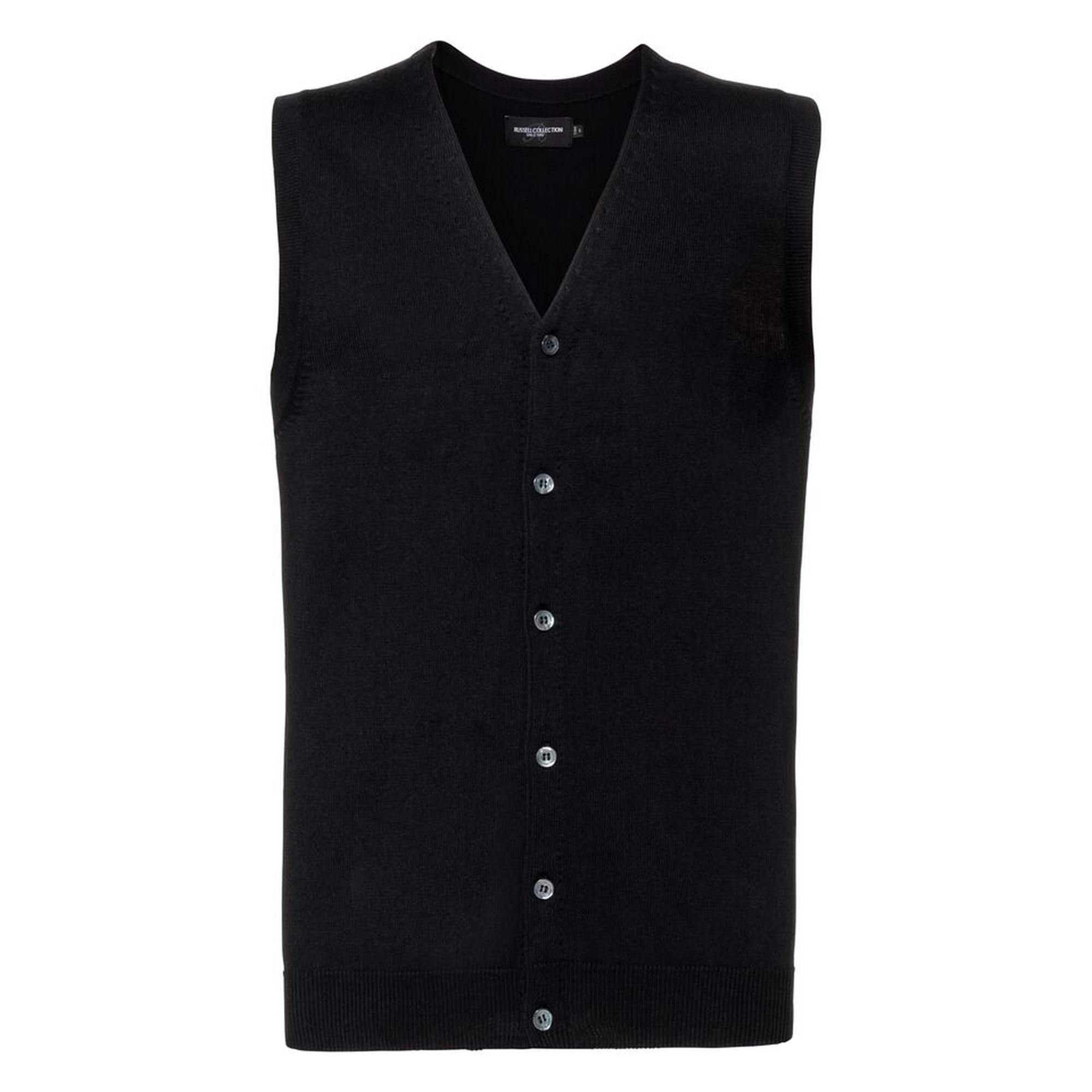 Russell Collection Mens V-neck Sleeveless Knitted Cardigan (M) (Black)