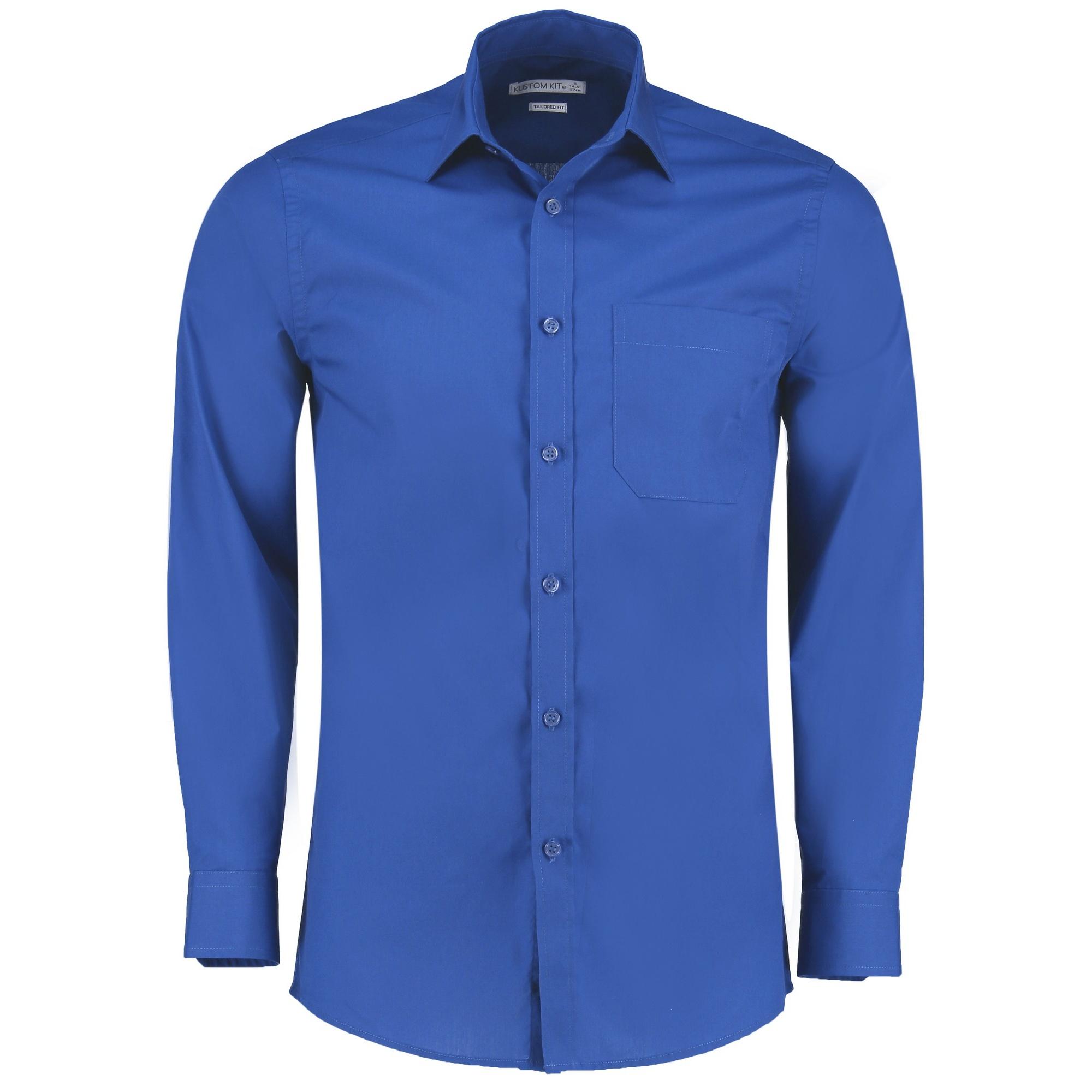 Kustom Kit Mens Long Sleeve Poplin Shirt (22) (Royal)