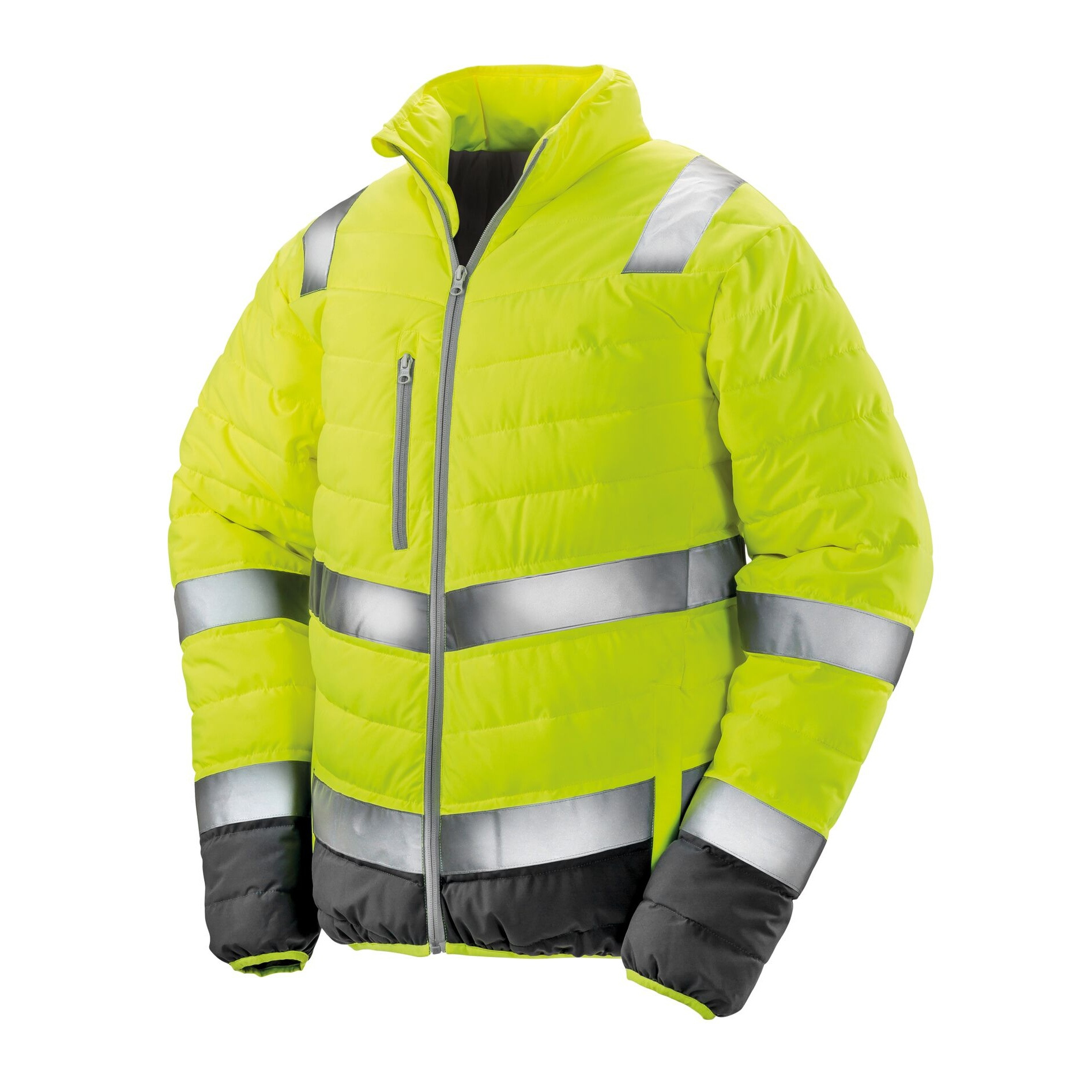 Result Safeguard Mens Soft Padded Safety Jacket (S) (Fluorescent Yellow)