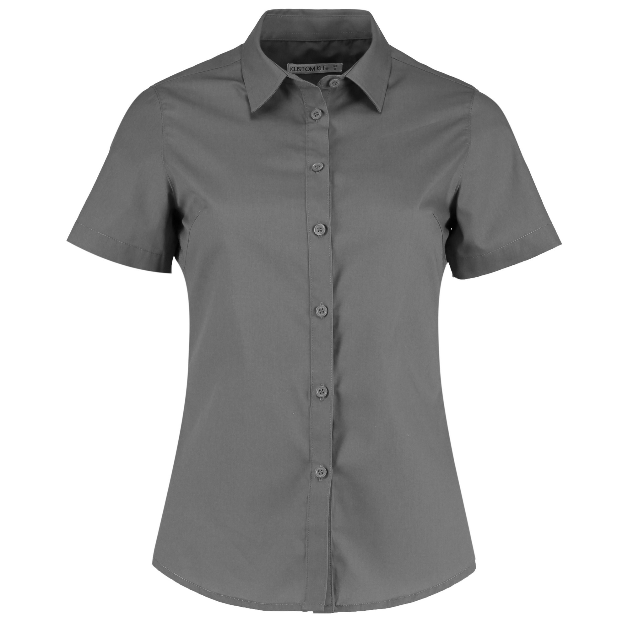 Kustom Kit Womens/Ladies Short Sleeve Poplin Shirt (10) (Graphite)