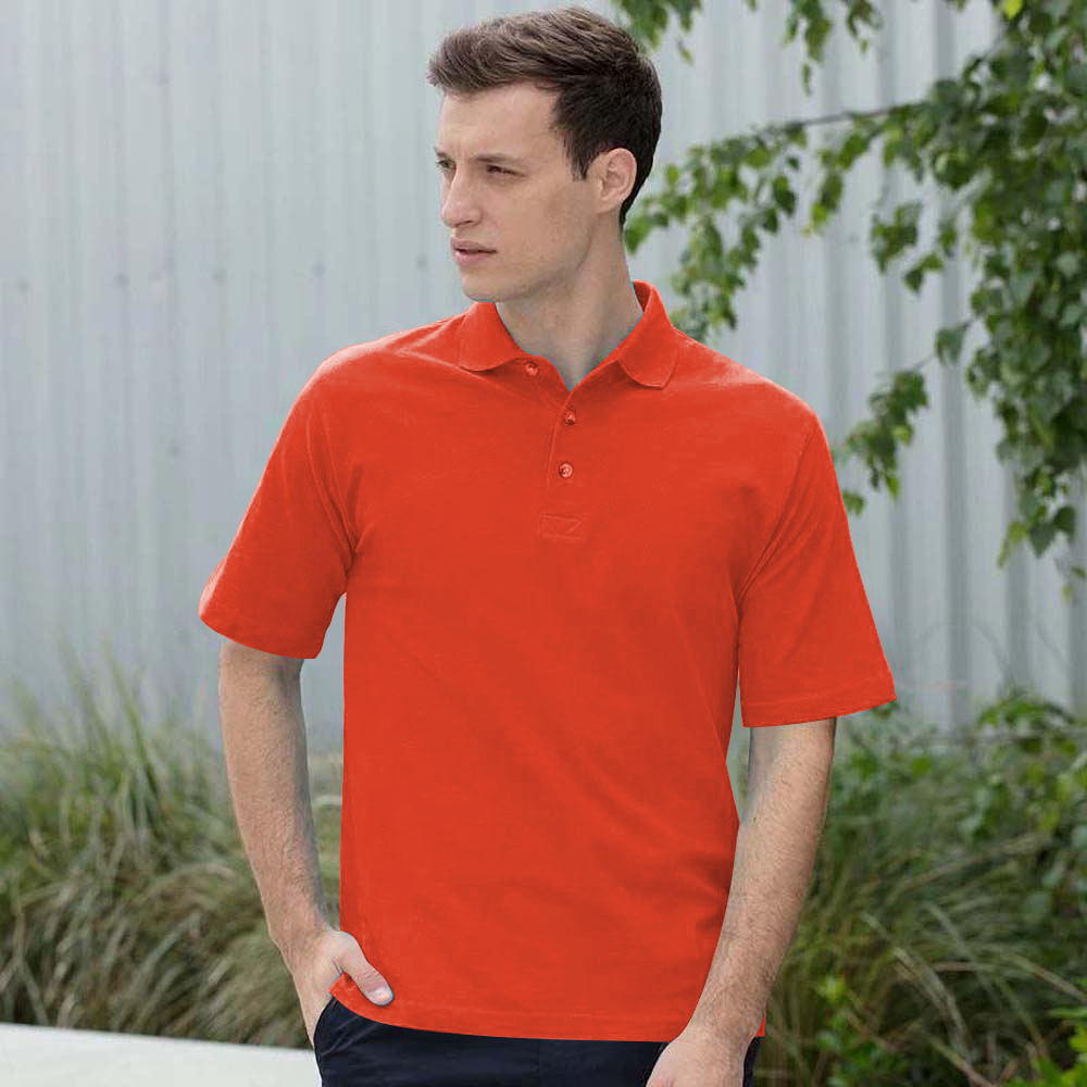 Henbury Mens Classic Plain Polo Shirt With Stand Up Collar (L) (Bright Orange)