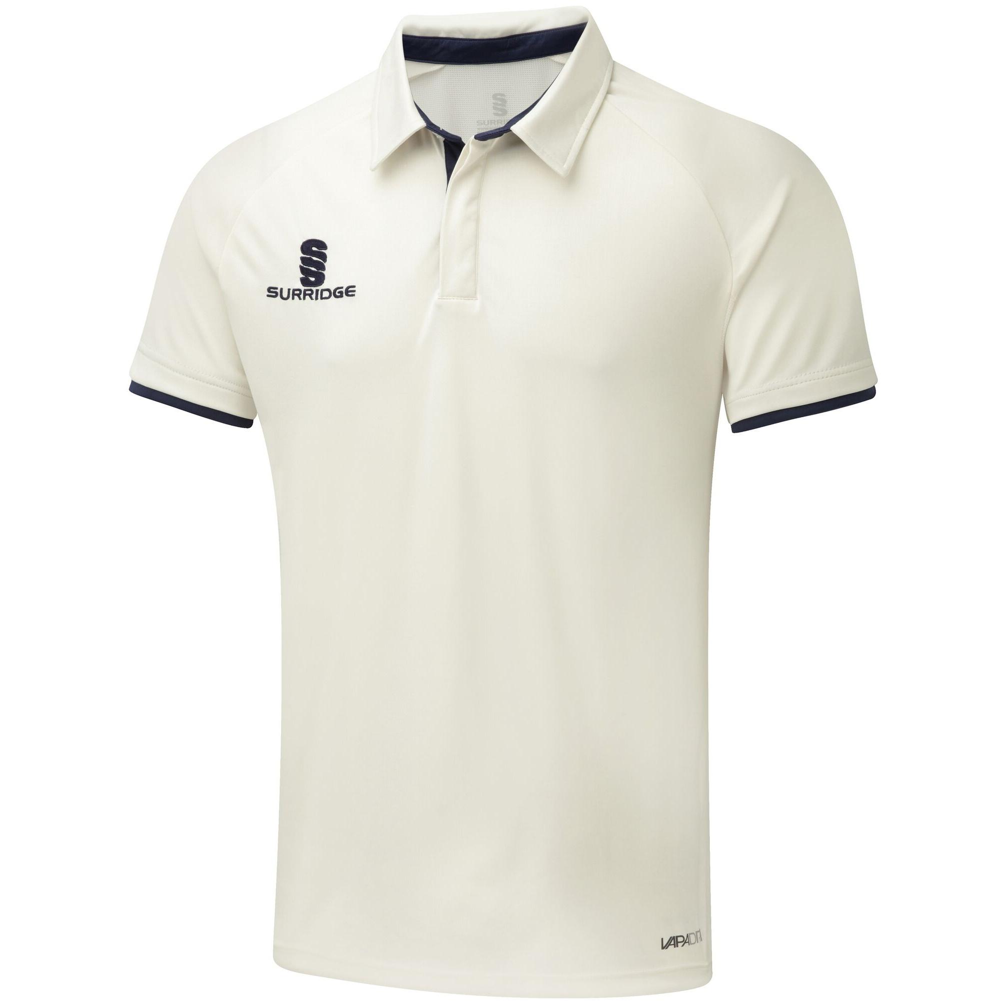 Surridge Mens Ergo Short Sleeve Shirt (32-34inch) (White/Navy Trim)