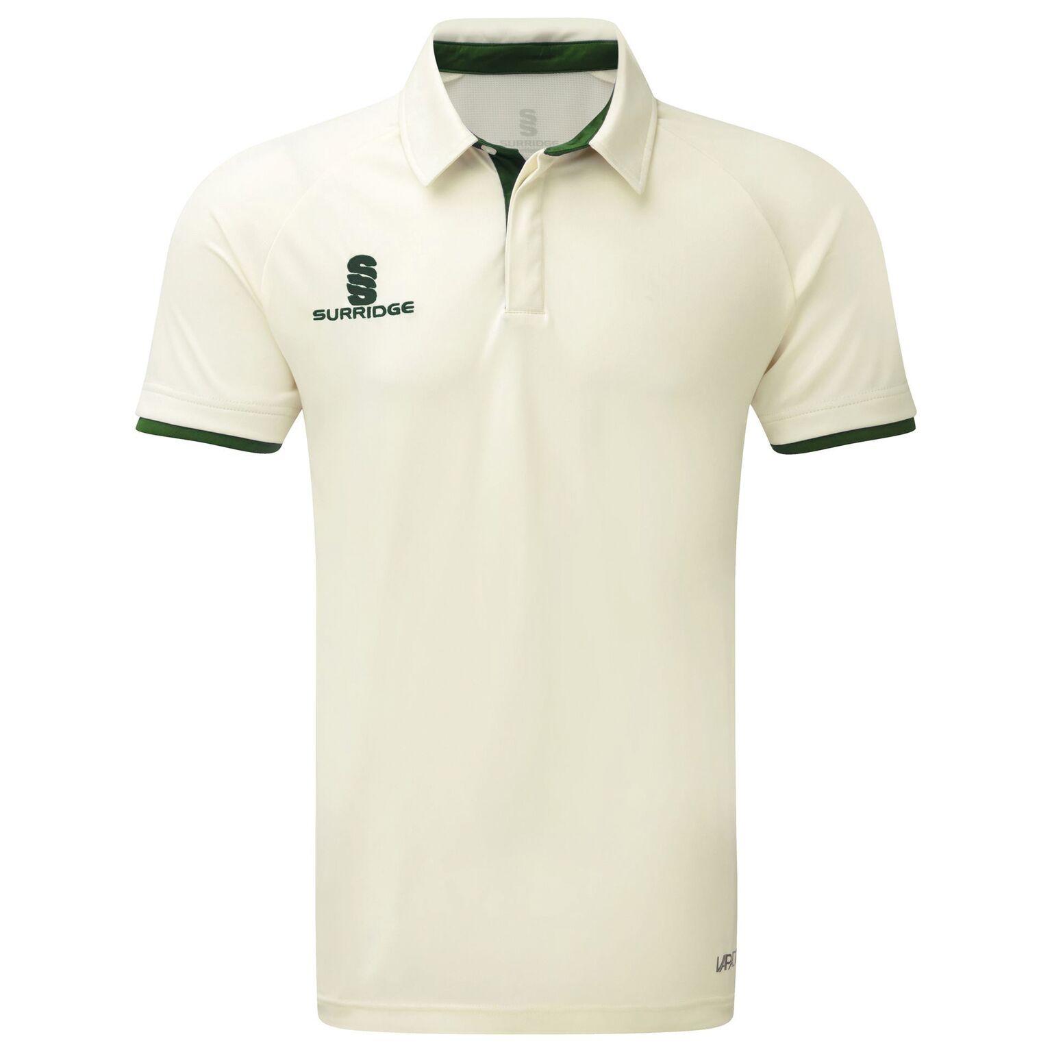 Surridge Mens Ergo Short Sleeve Shirt (M) (White/Green Trim)