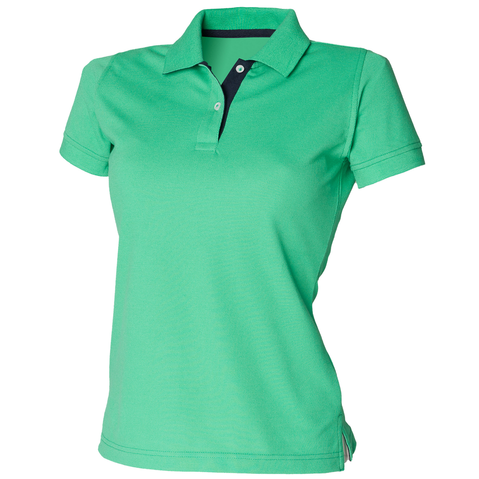 Henbury-Damen-Polo-Shirt-Slim-Fit-Kontrasteinsatz-Kurzarm-RW630