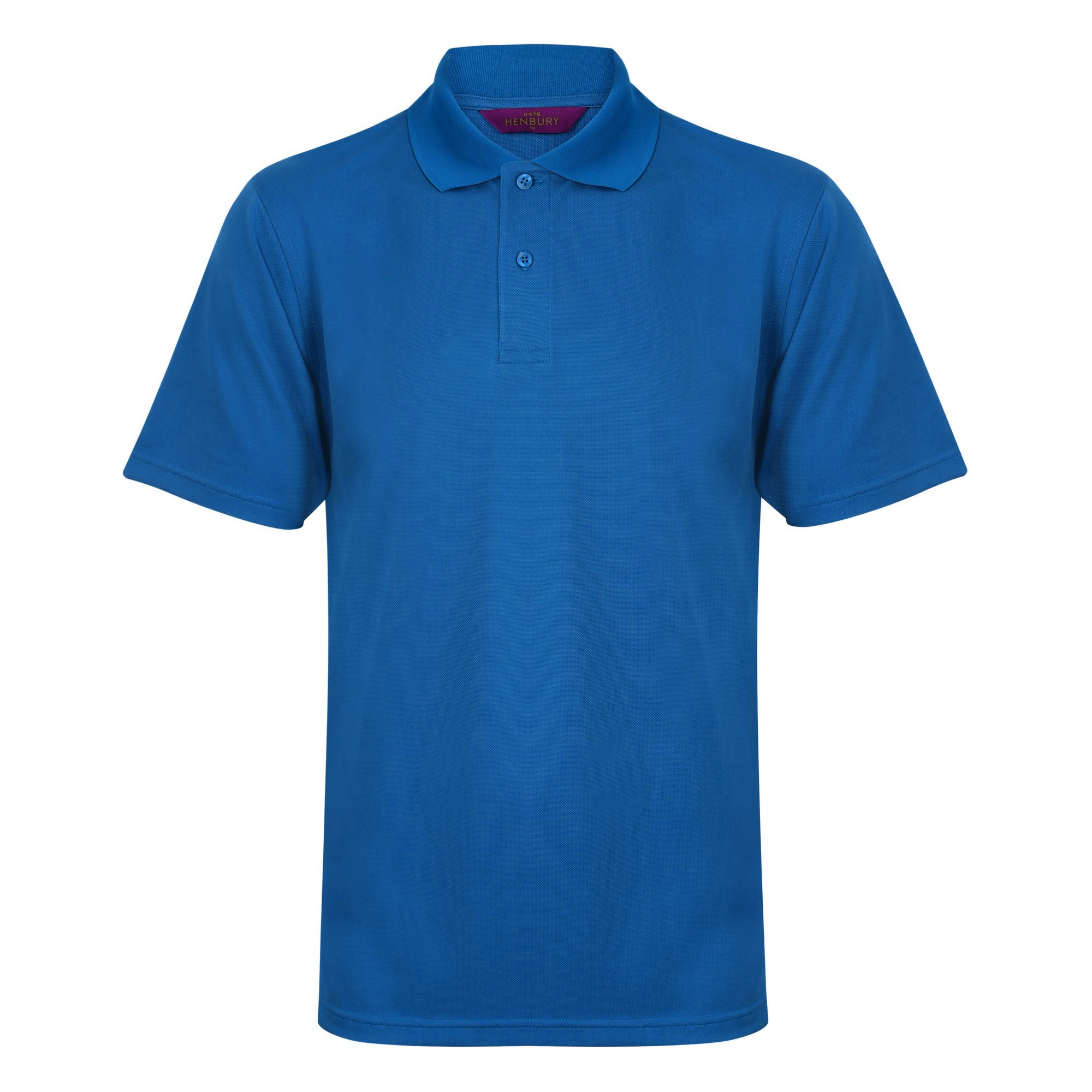 Henbury Mens Coolplus® Pique Polo Shirt (S) (Mid Blue)