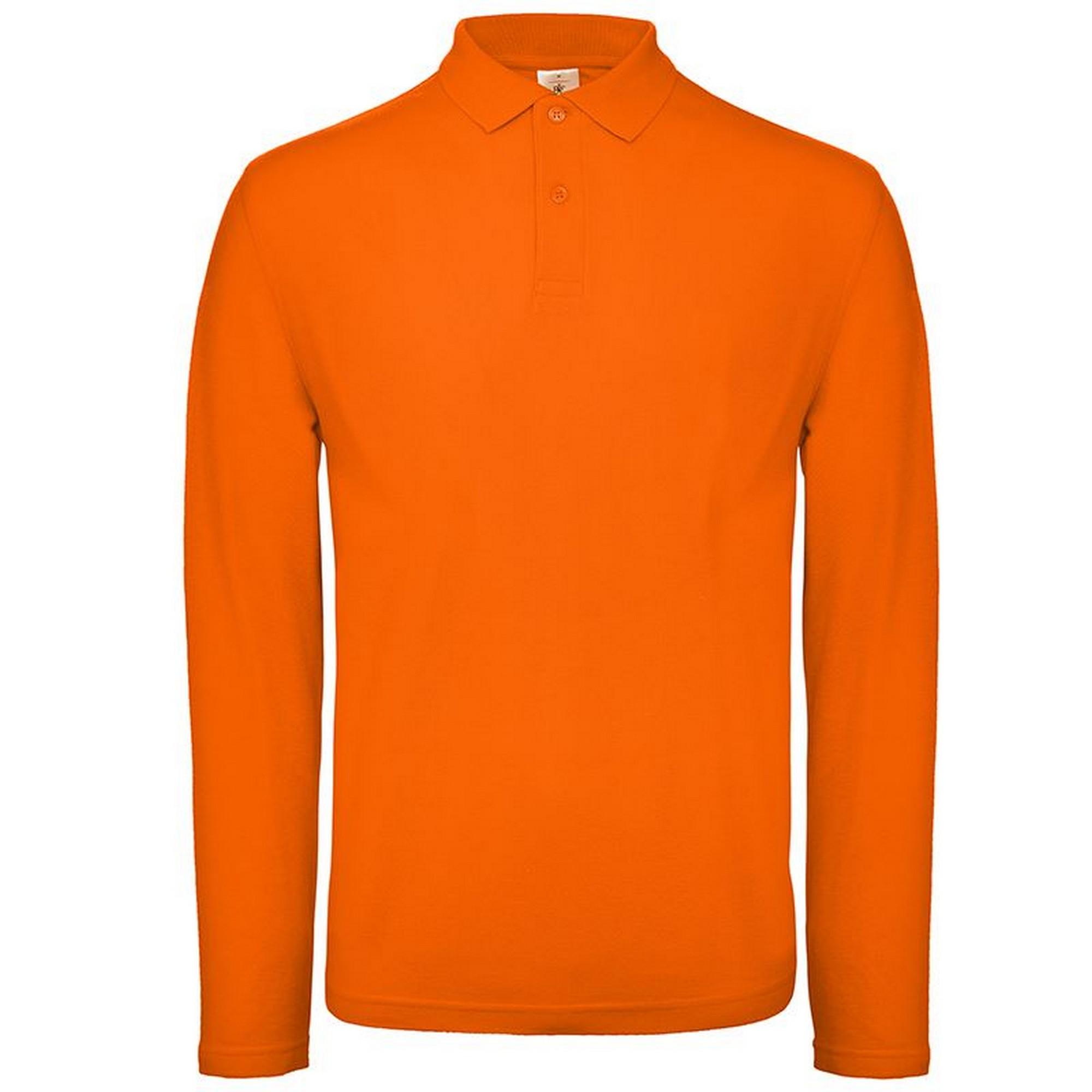 B&C Collection Mens Long Sleeve Polo Shirt (4XL) (Orange)
